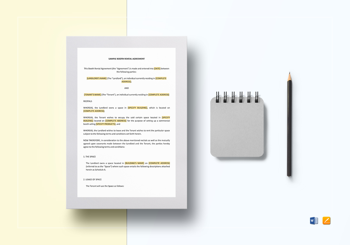 Sample Booth Rental Agreement Template