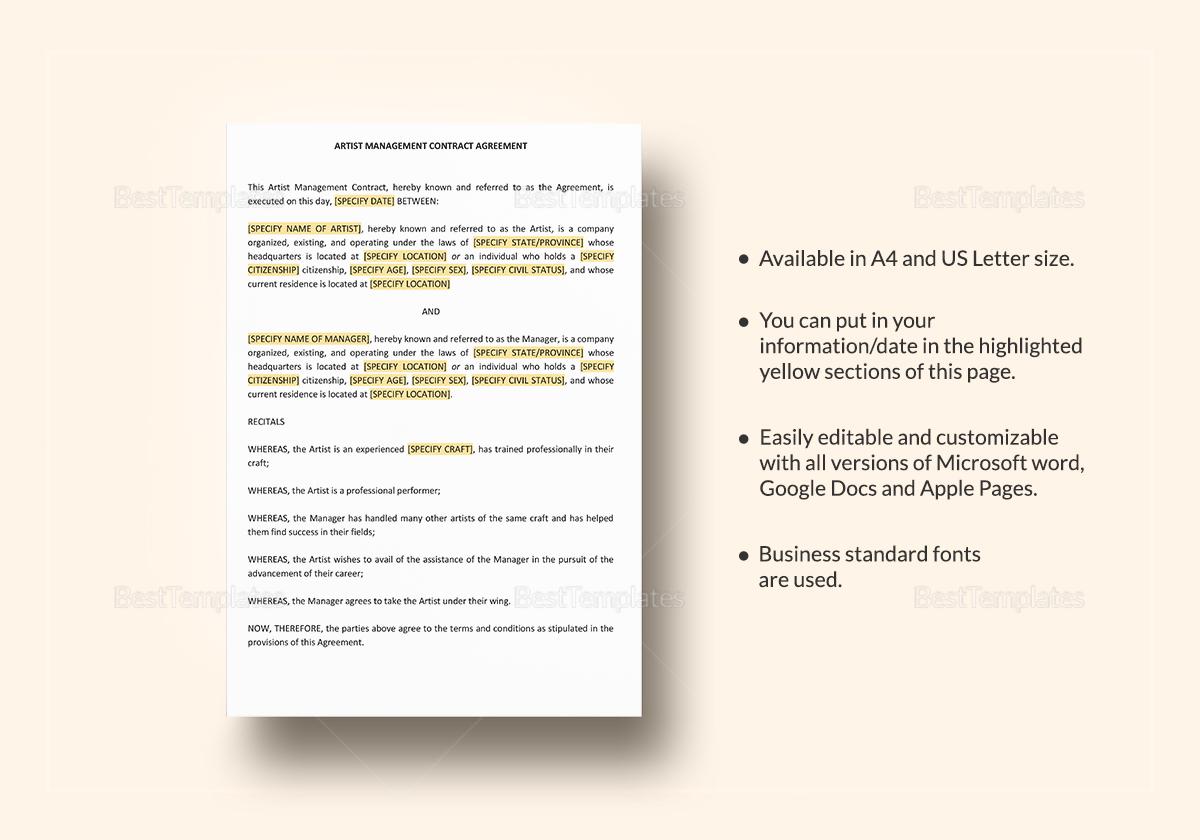 Artist Management Contract; Artist Management Contract Template
