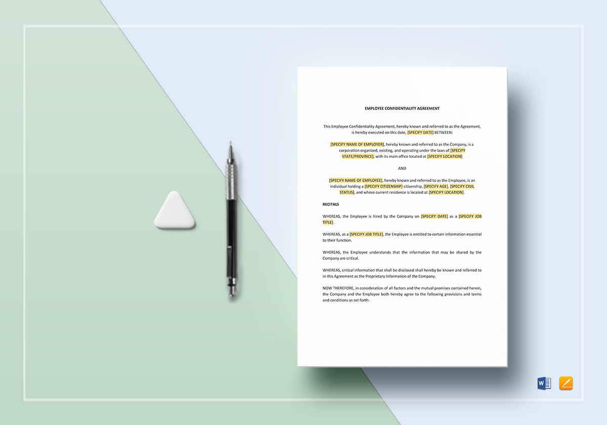 Employee Confidentiality Agreement Template In Word Google Docs