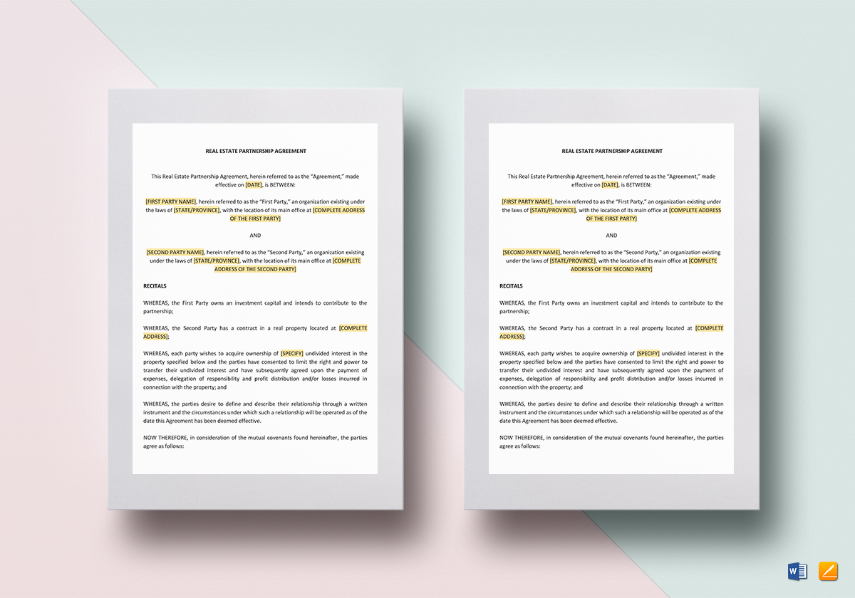 Real Estate Partnership Agreement Template In Word Google Docs