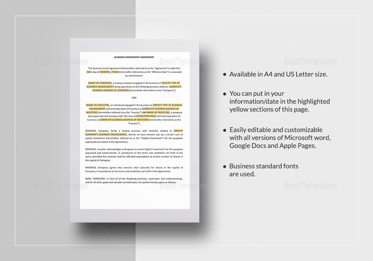 Business investment agreement best resumes wonderful business investment agreement template business investment agreement template pronofoot35fo Gallery