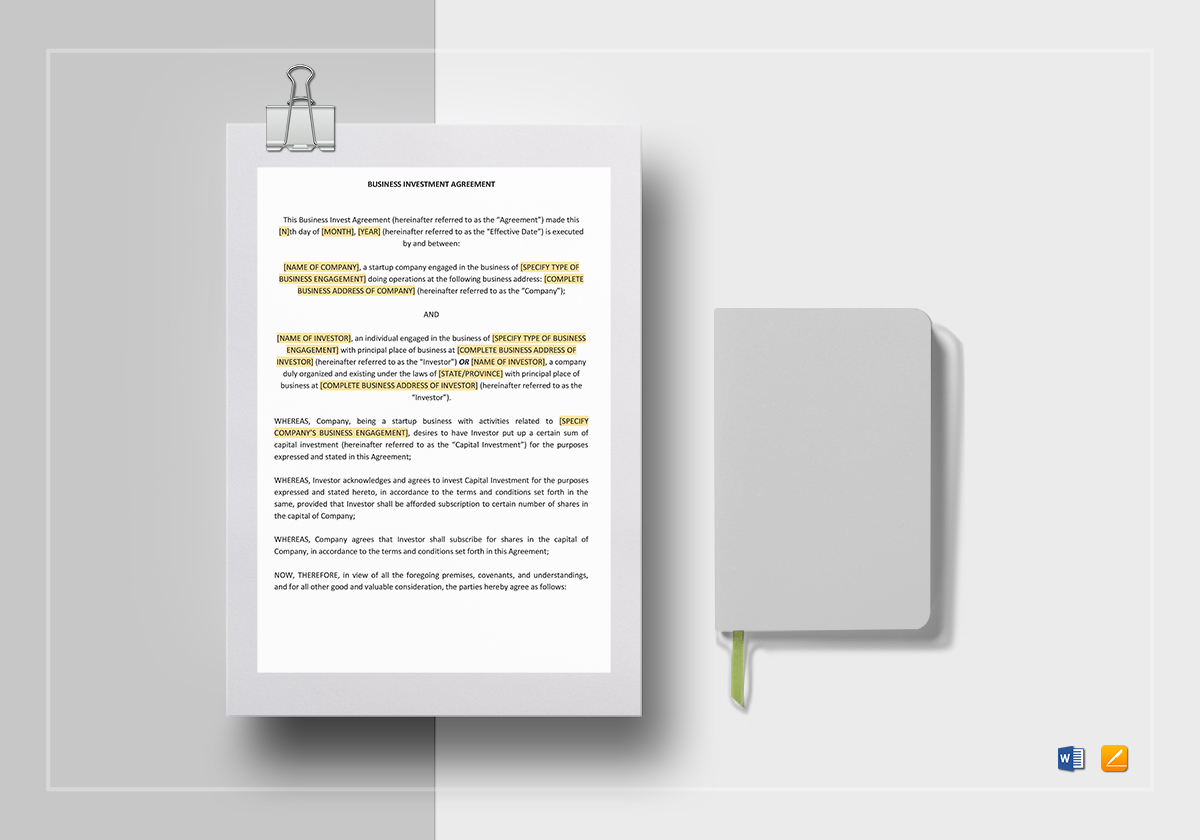 Business investment agreement template in word google docs apple pages business investment agreement template friedricerecipe Image collections