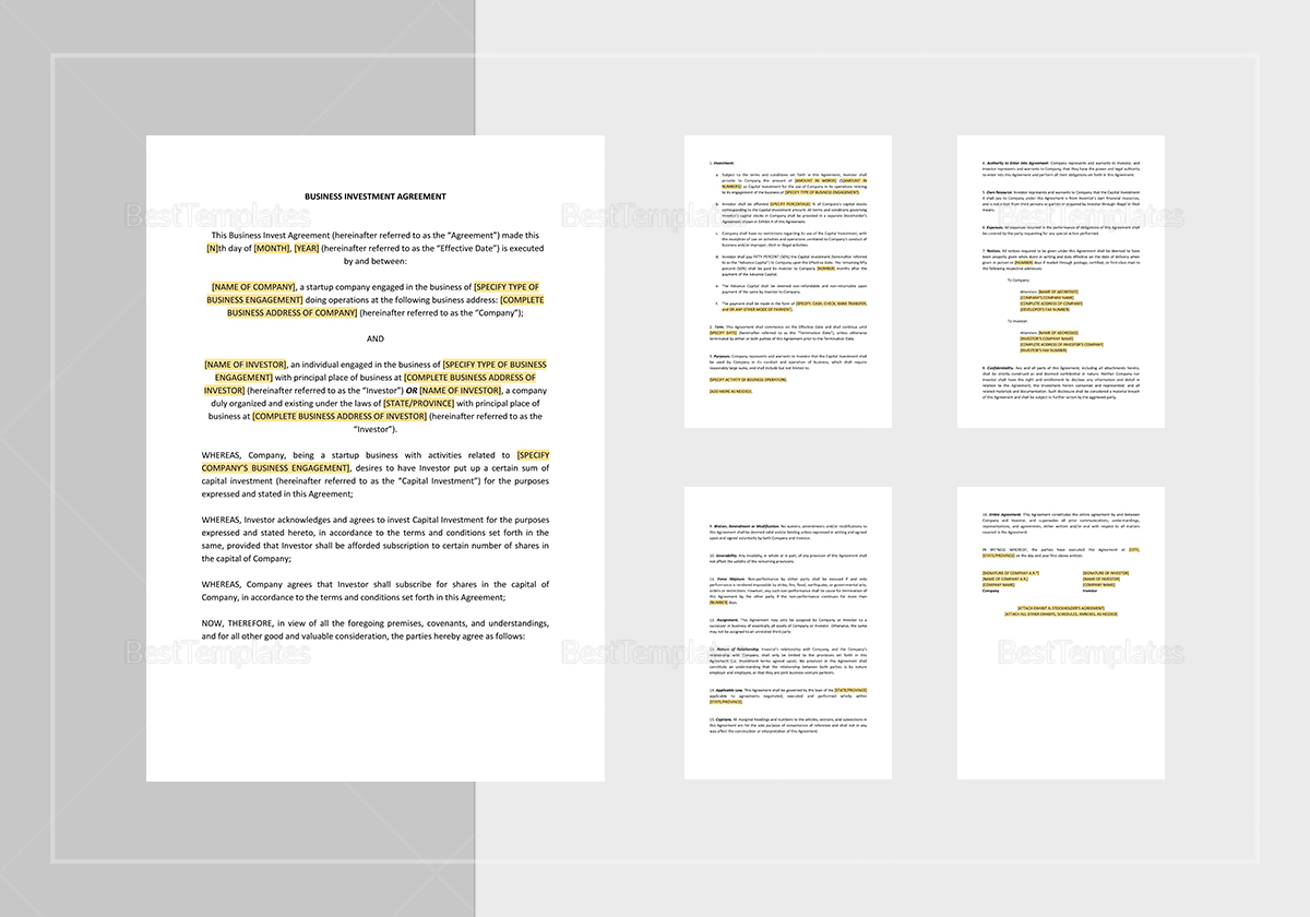 Business Investment Agreement Template; Business Investment Agreement  Template ...