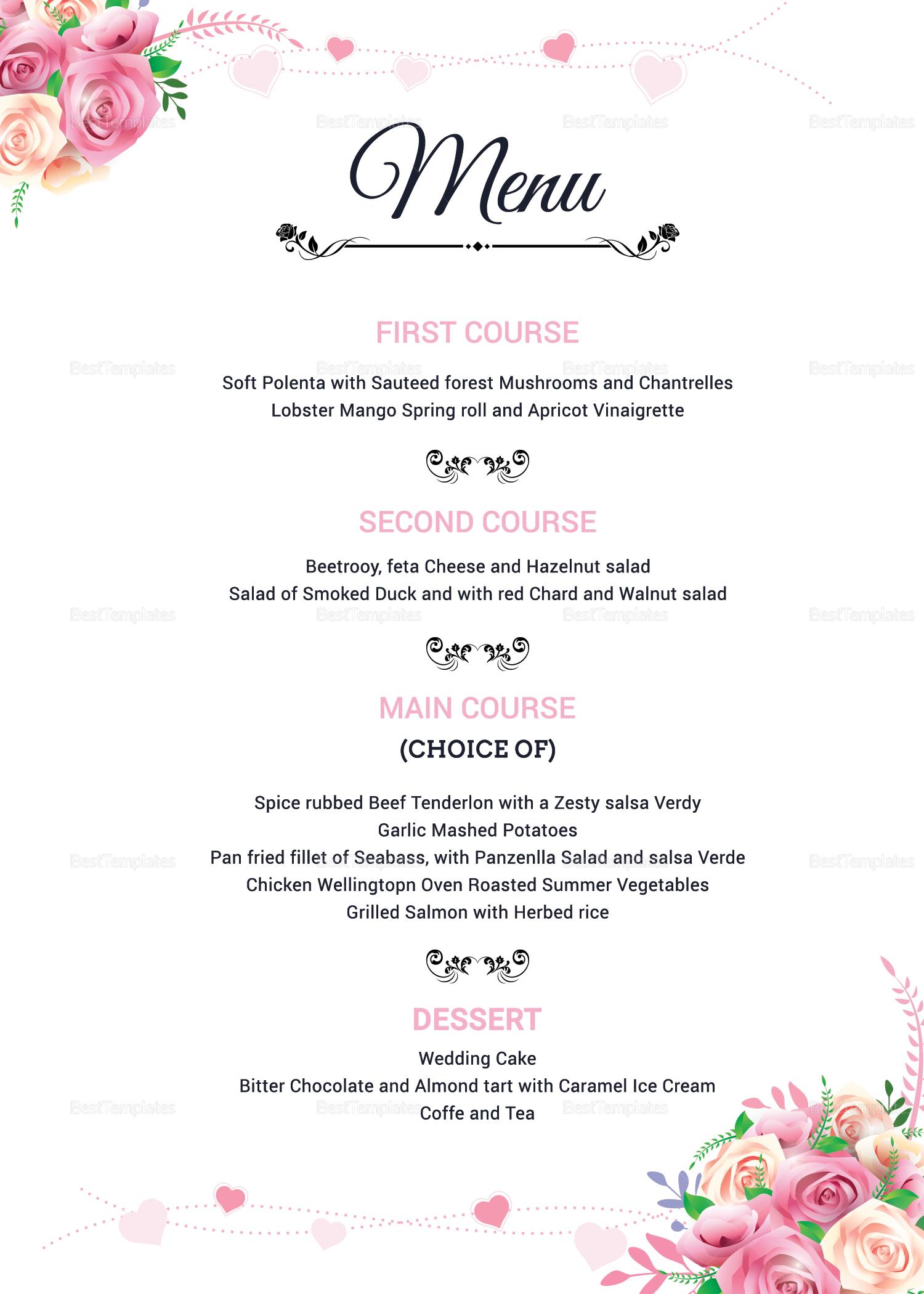 Floral Wedding Menu Invitation Design Template