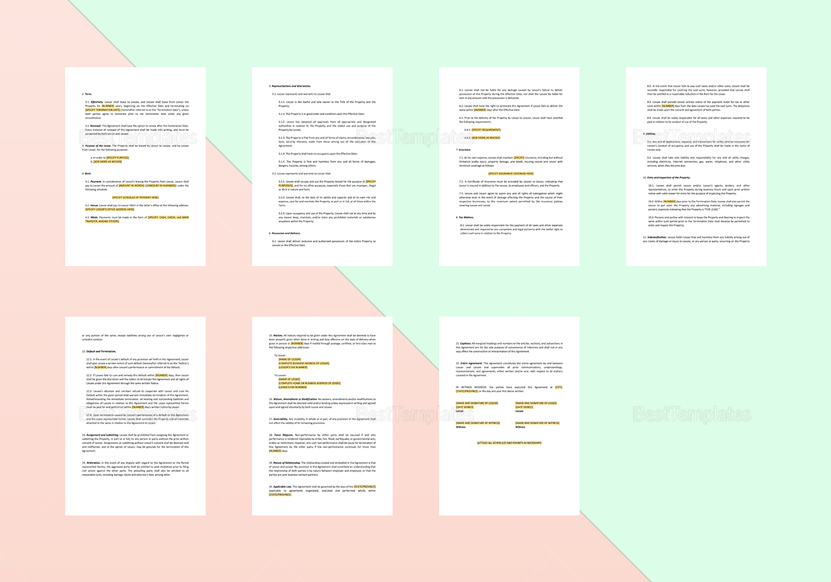Sample Land Lease Agreement Template