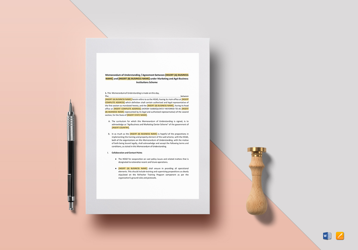 Memorandum of understanding for business template in word google memorandum of understanding format for business spiritdancerdesigns Gallery