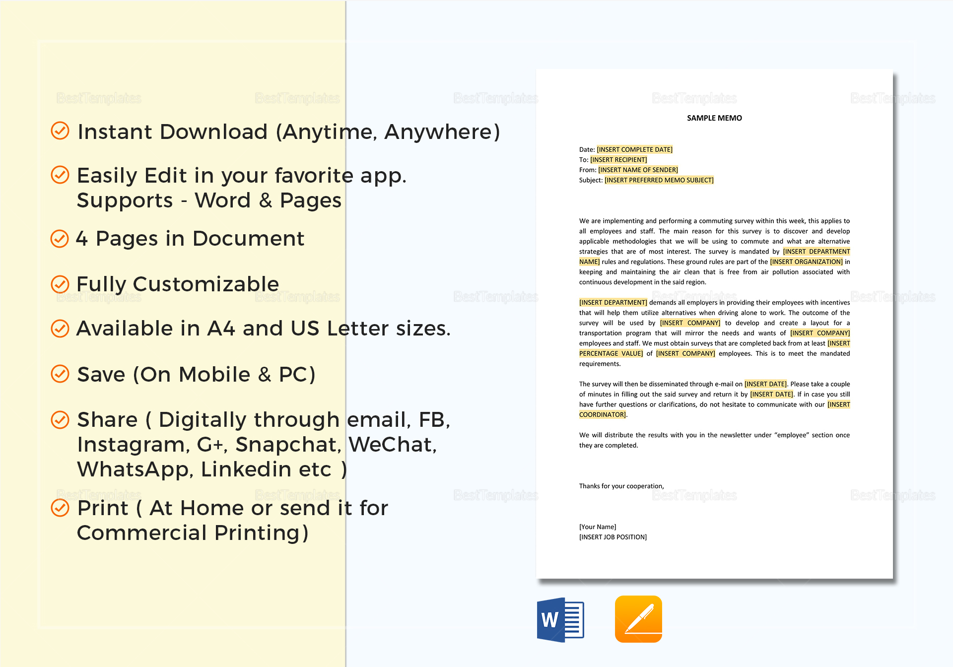 Business Memo Format In Word Google Docs Apple Pages
