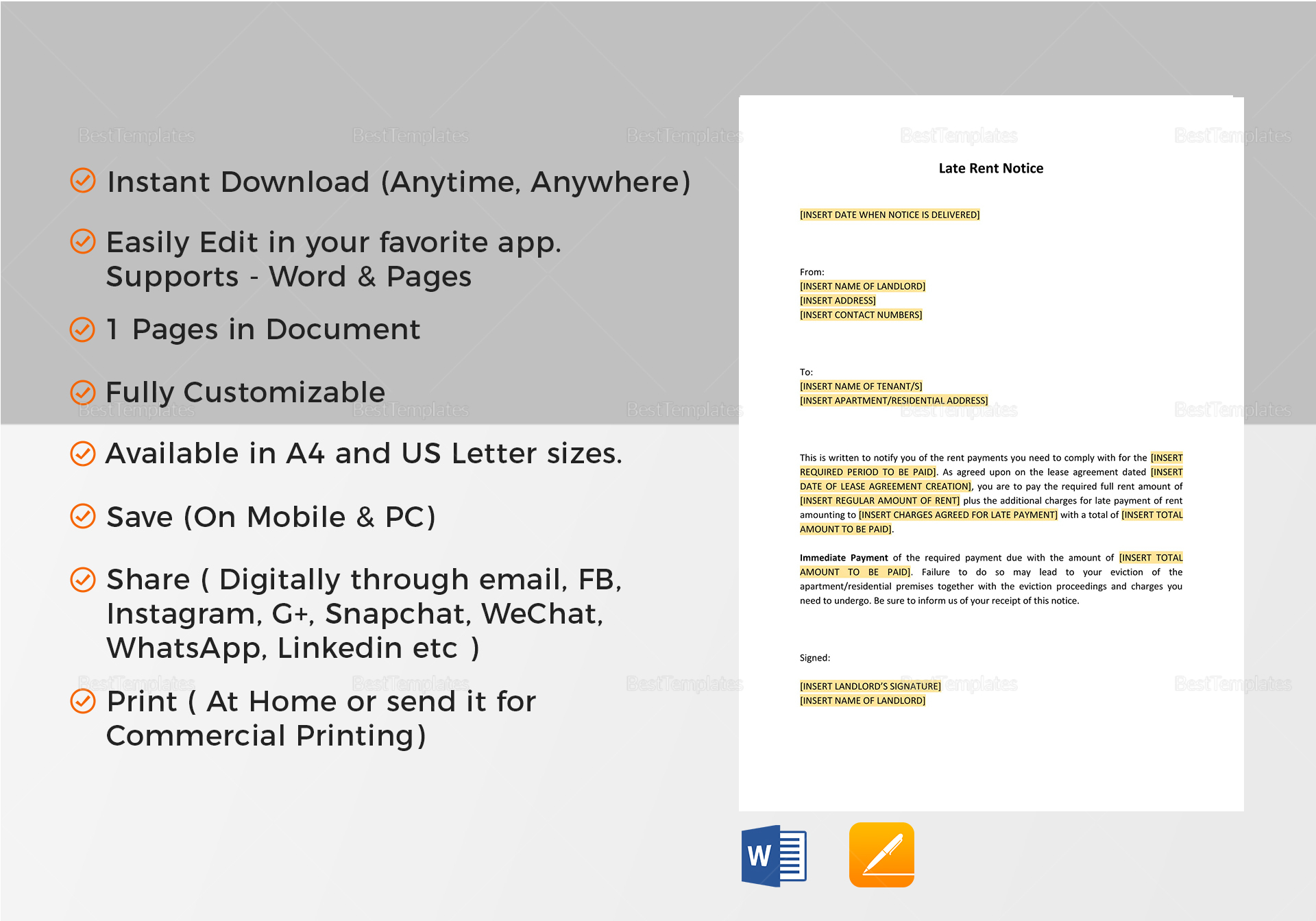 Late rent notice template in word google docs apple pages late rent notice template late rent notice template altavistaventures Images