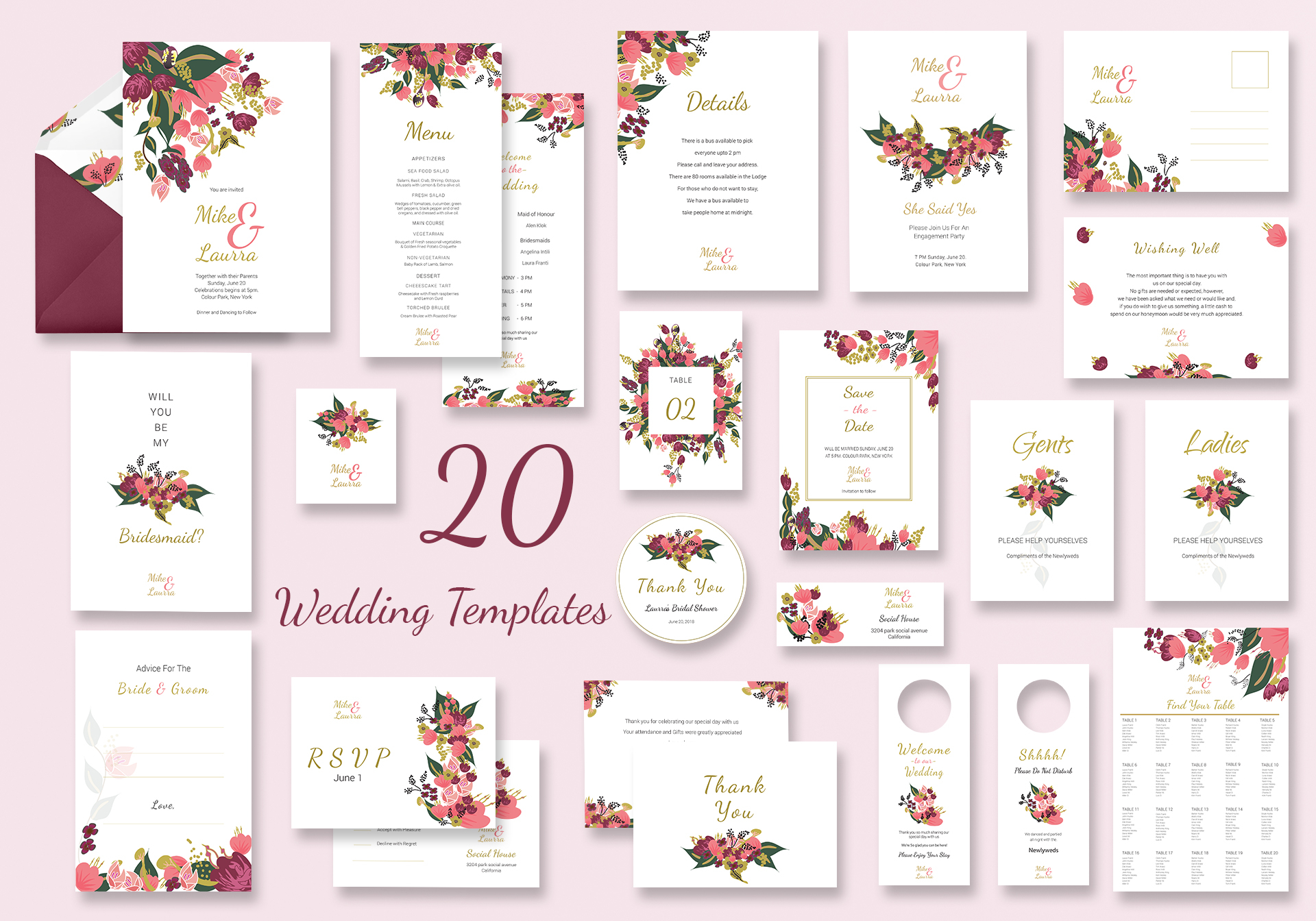 Burgundy Floral Wedding Templates