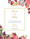 Burgundy Floral Save the Date Template