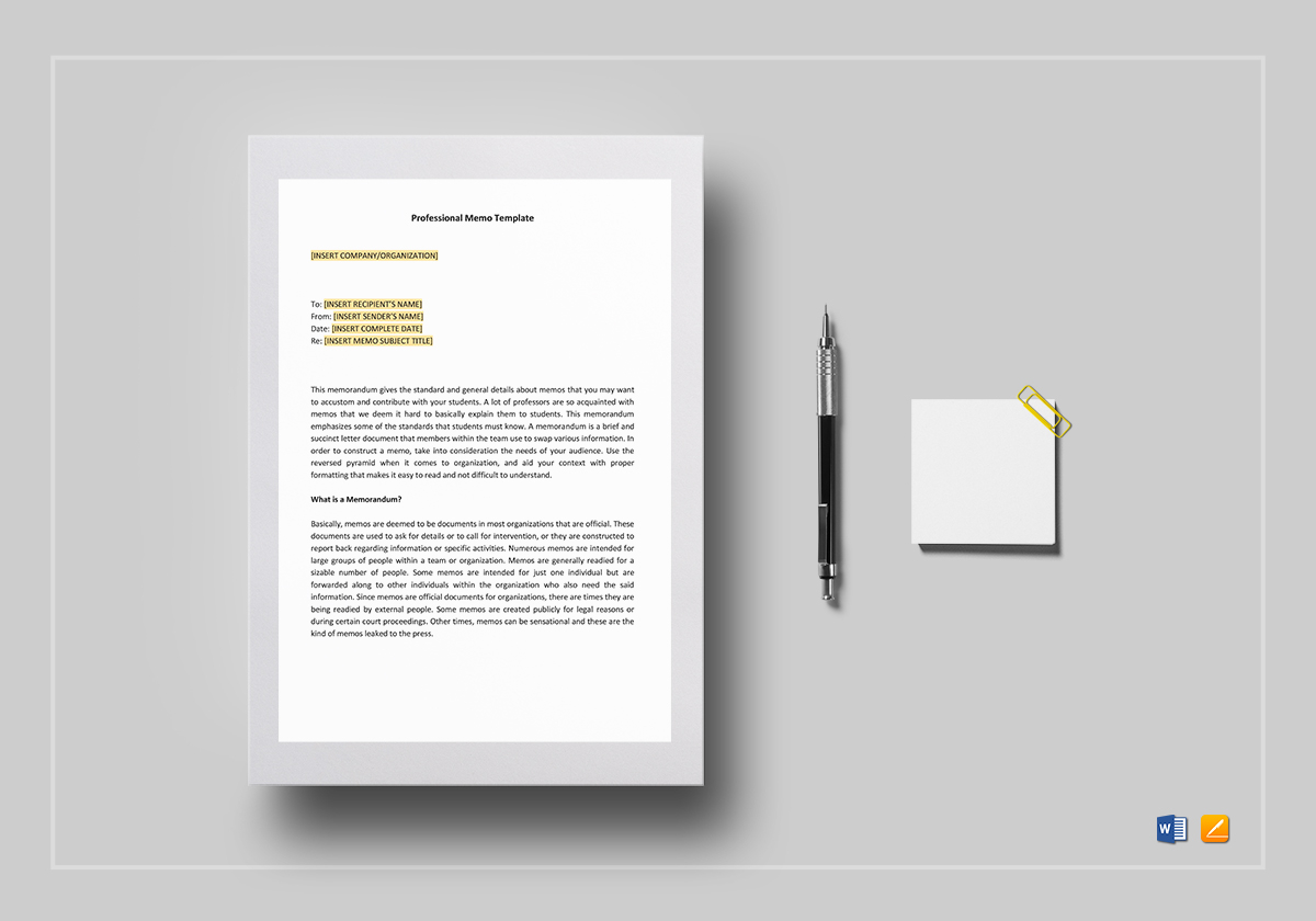 professional memo template in word google docs apple pages. Black Bedroom Furniture Sets. Home Design Ideas