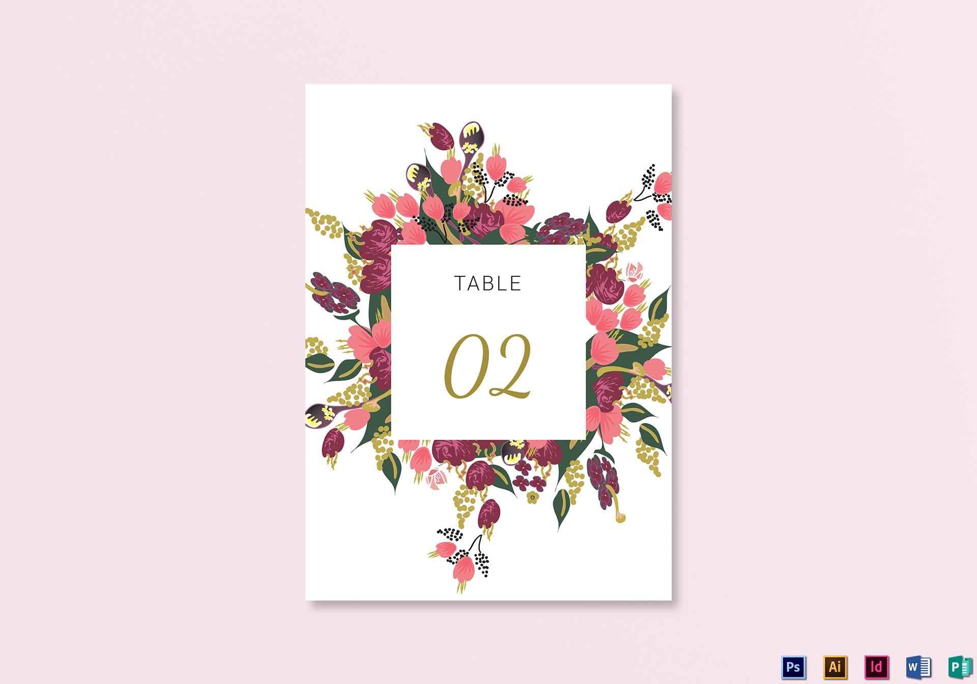 Burgundy Floral Table Card