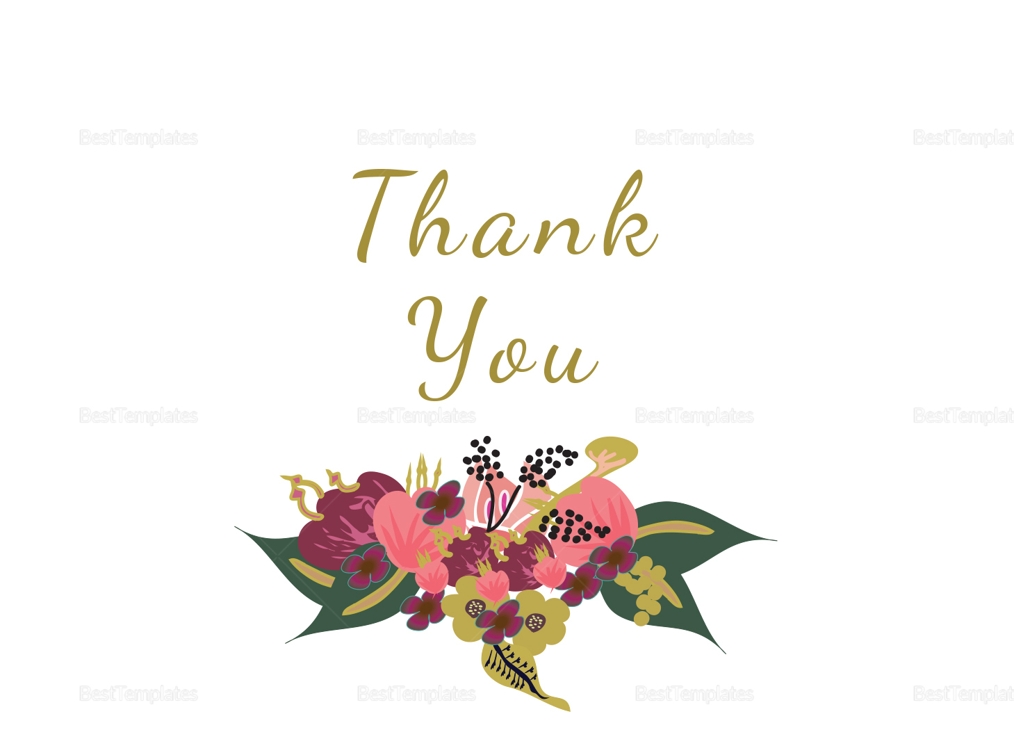Burgundy Floral Thank You Card