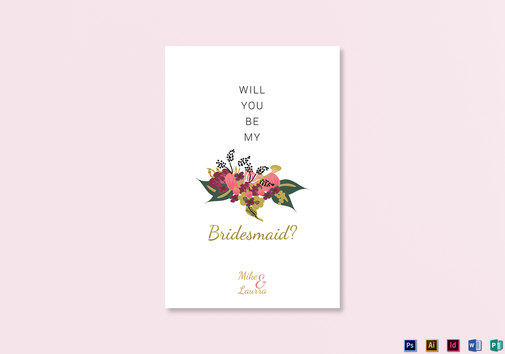 Burgundy Floral Will You Be My Bridesmaid Wedding Card