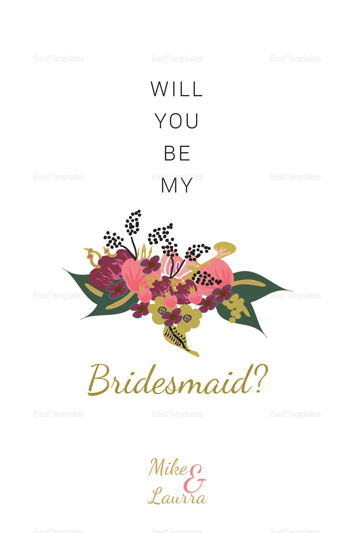 Burgundy Floral Will You Be My Bridesmaid Wedding