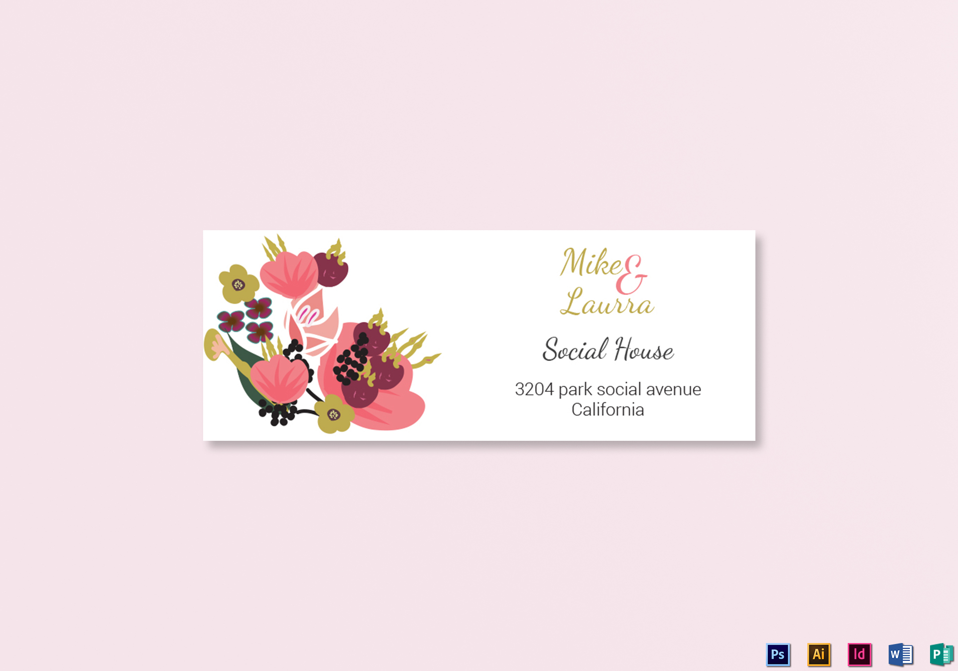 Burgundy Floral Wedding Address Labels