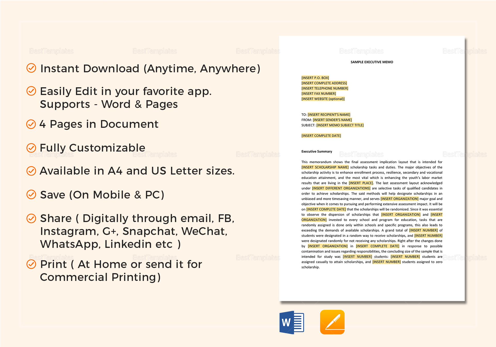 executive memo template in word google docs apple pages