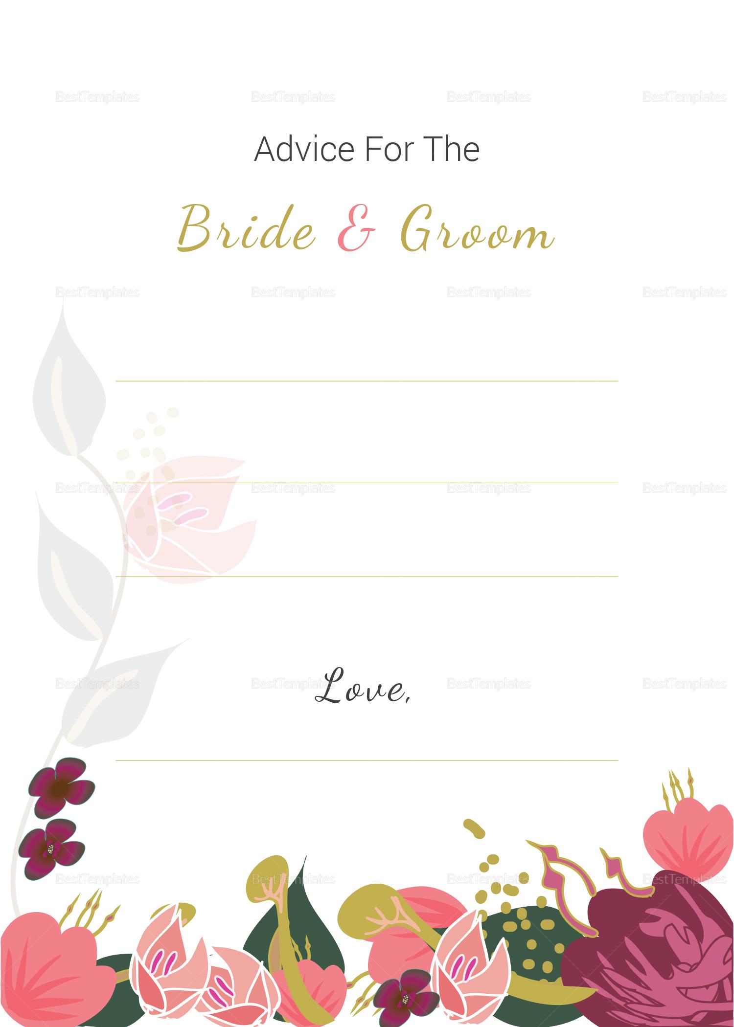 Burgundy Floral Wedding Advice Card