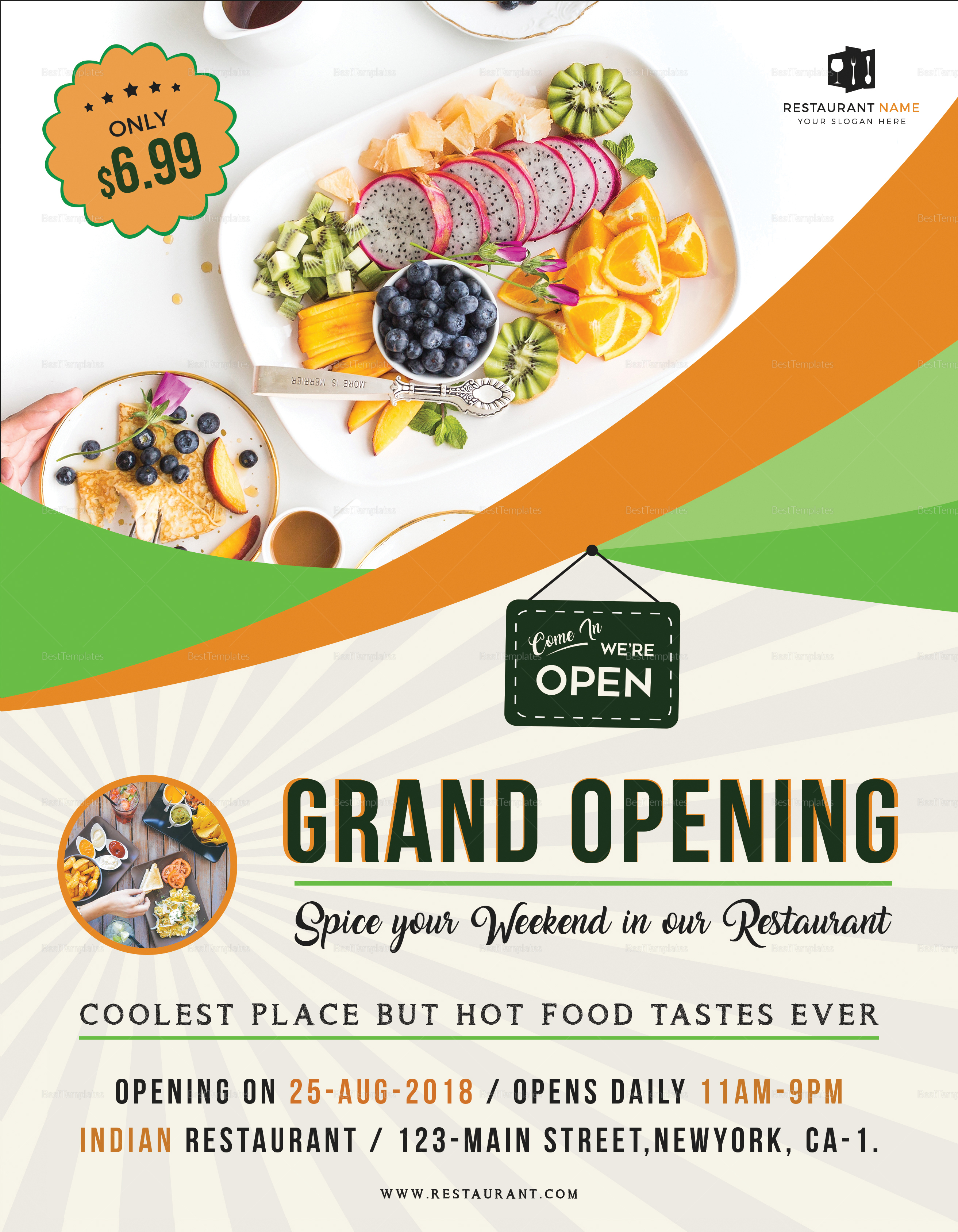 restaurant grand opening flyer design template in word