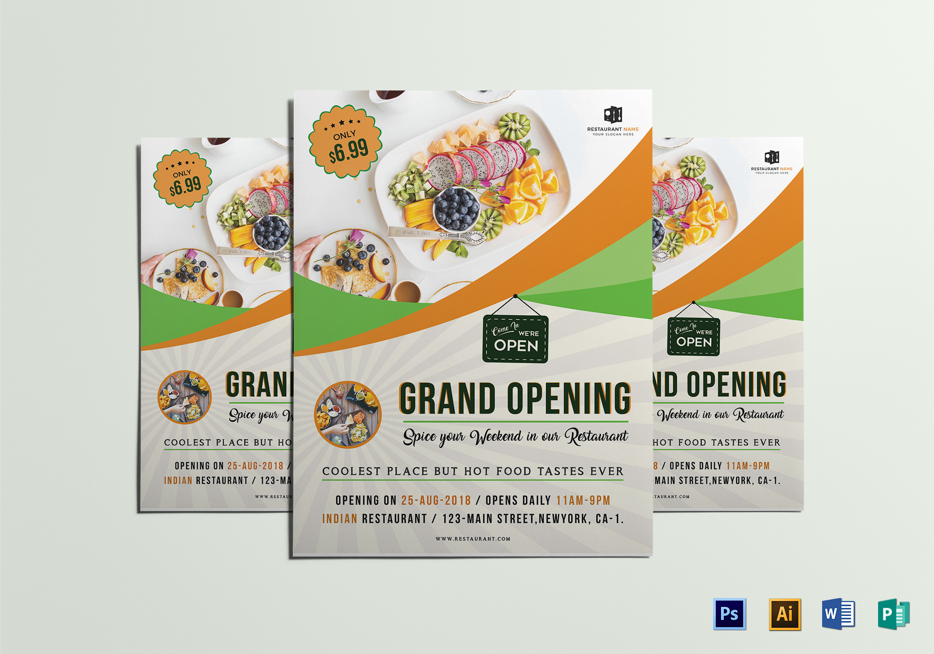 restaurant grand opening flyer design template in word psd