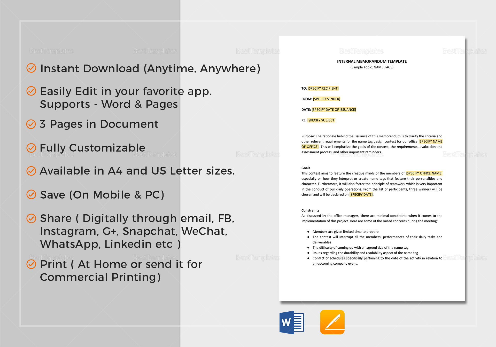 Internal Memo Template in Word, Google Docs, Apple Pages