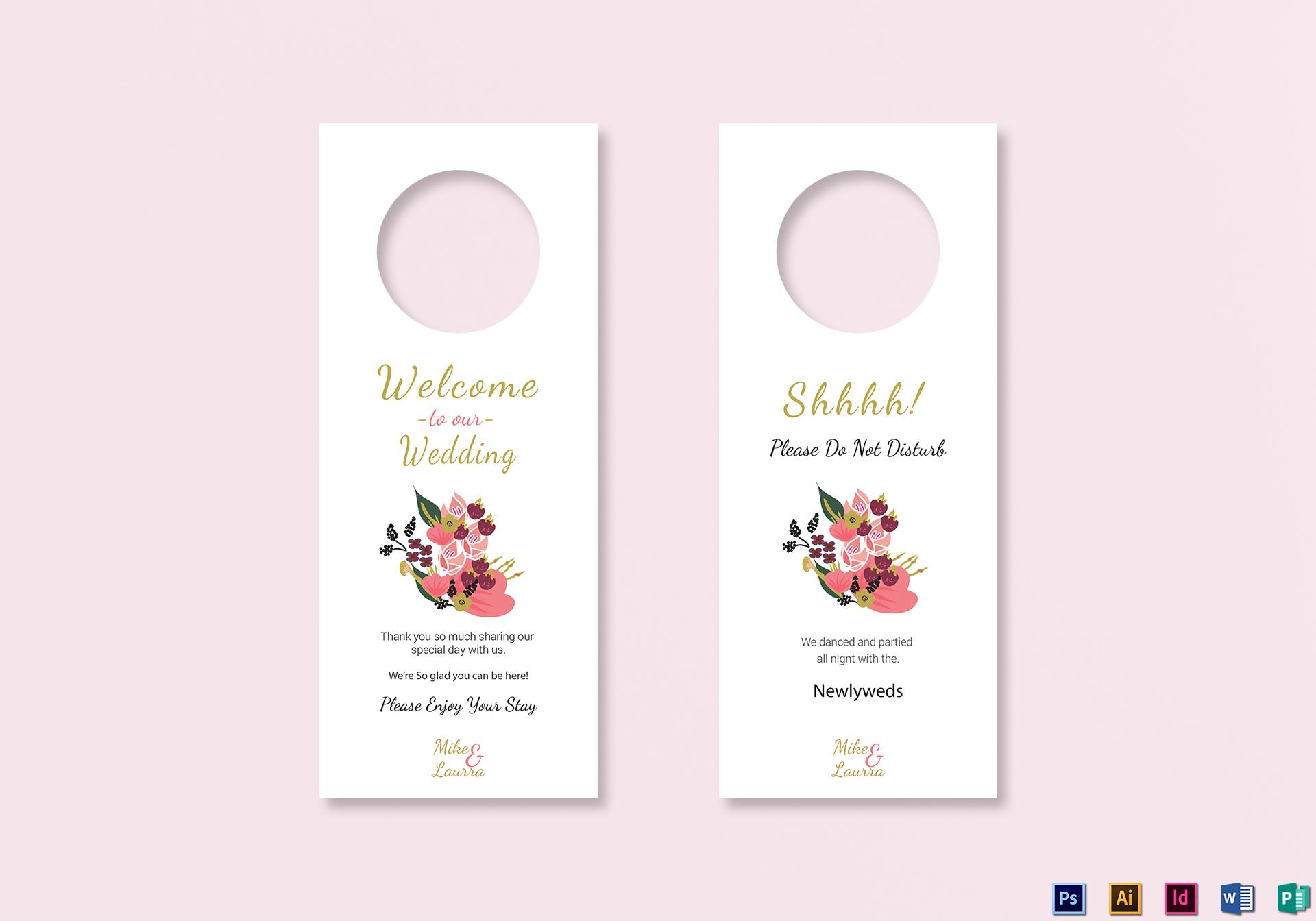 Burgundy Floral Wedding Door Hanger Card Template In Word PSD - Wedding door hangers template
