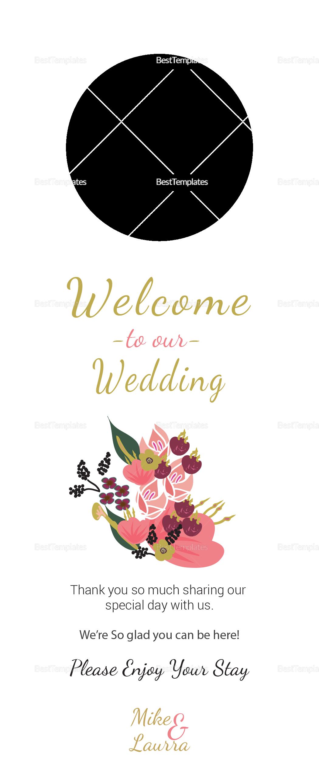 Burgundy Floral Wedding Door Hanger Card
