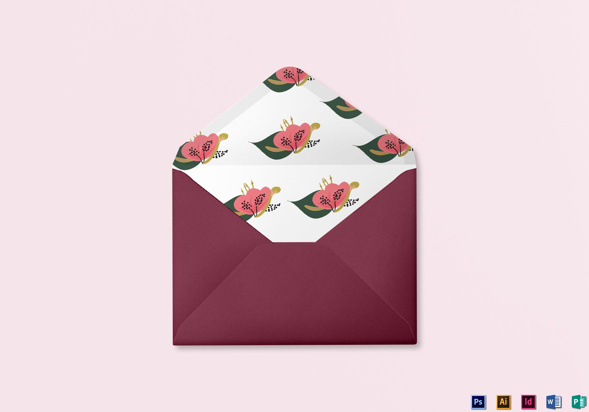 Burgundy floral Wedding Envelope