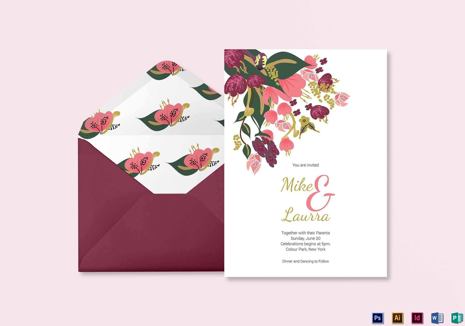 Burgundy Floral Wedding Invitation Card