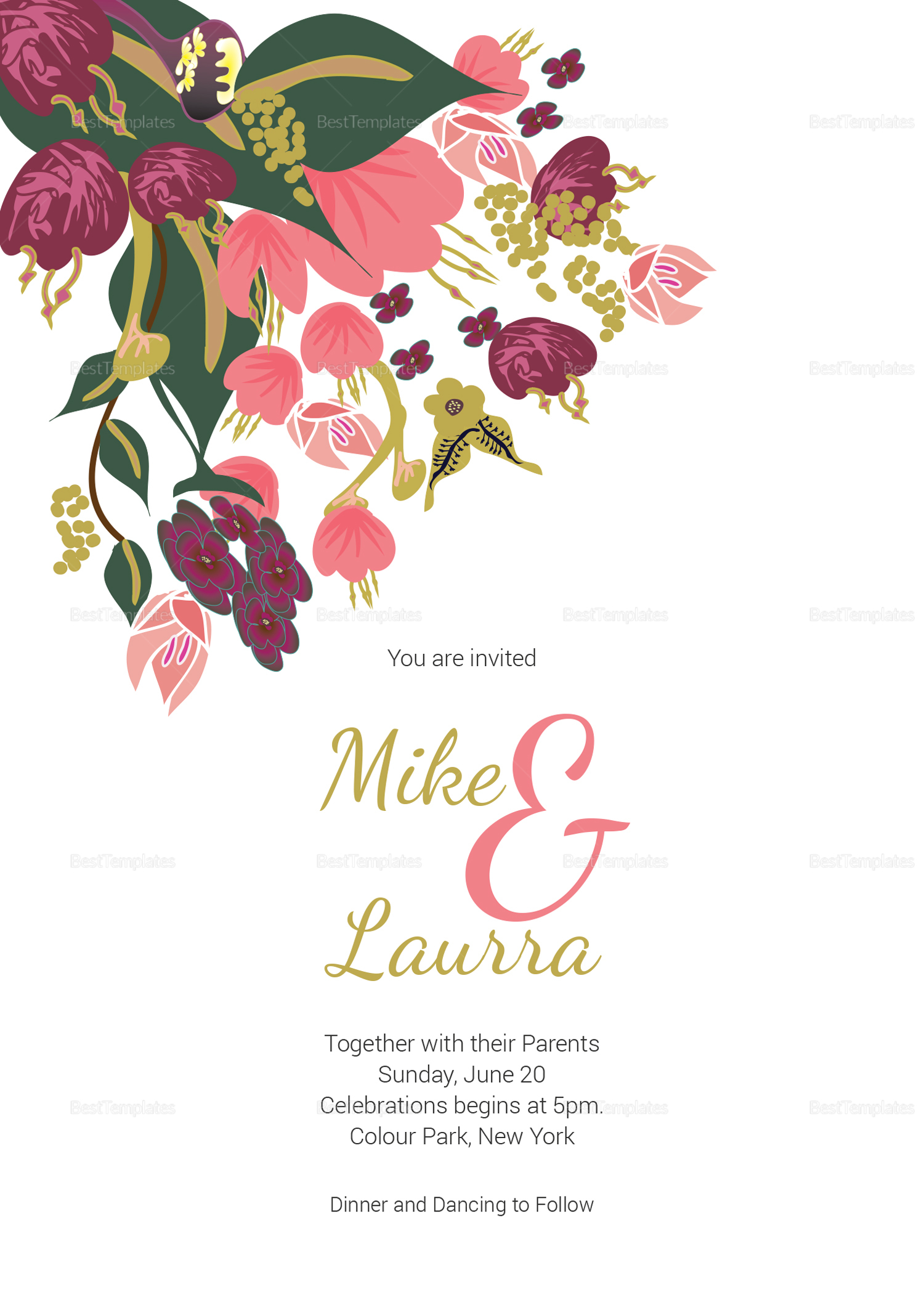 Burgundy Floral Wedding Invitation Card