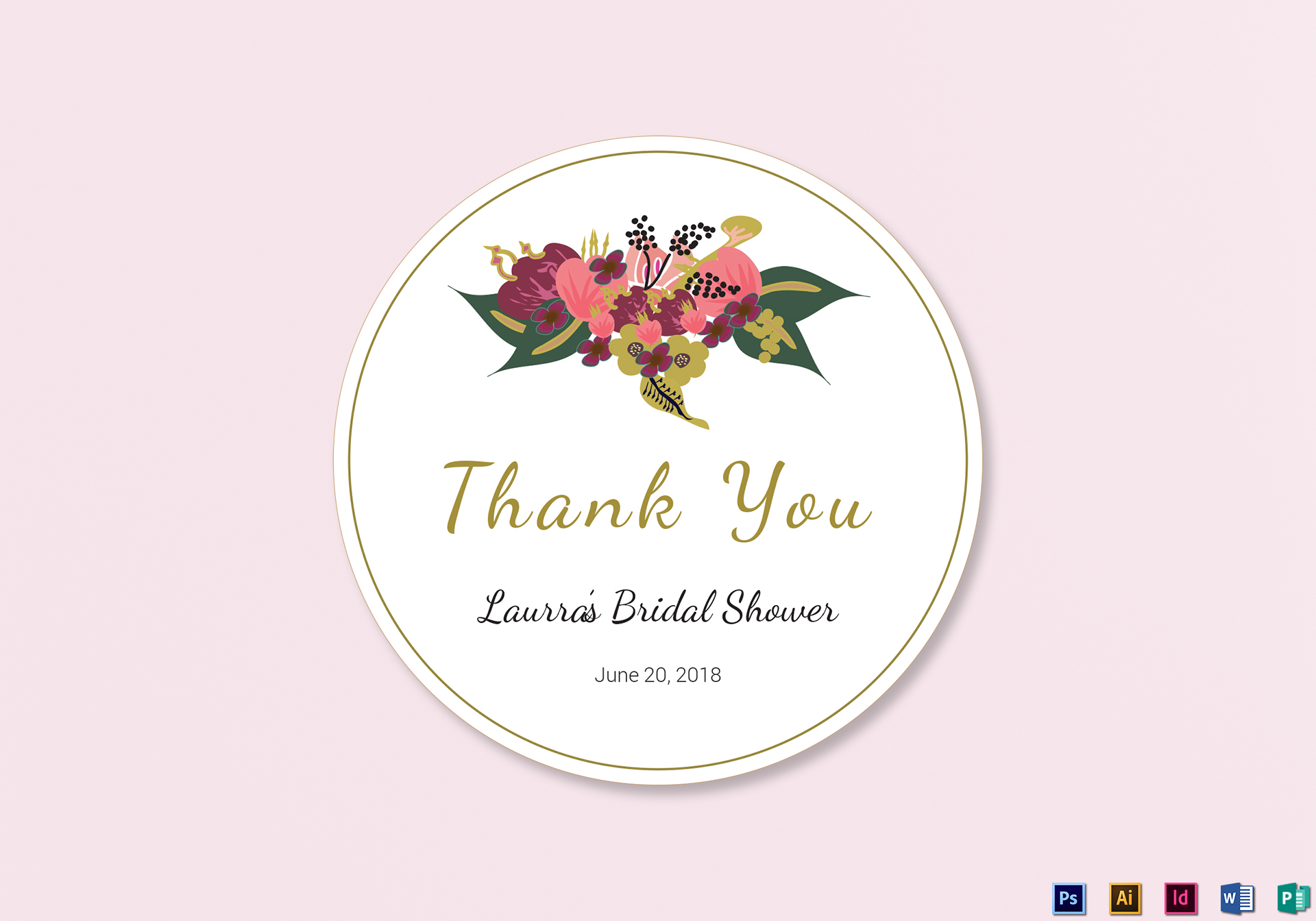 Burgundy Floral Wedding Label Design Templates In Word PSD - Wedding label templates