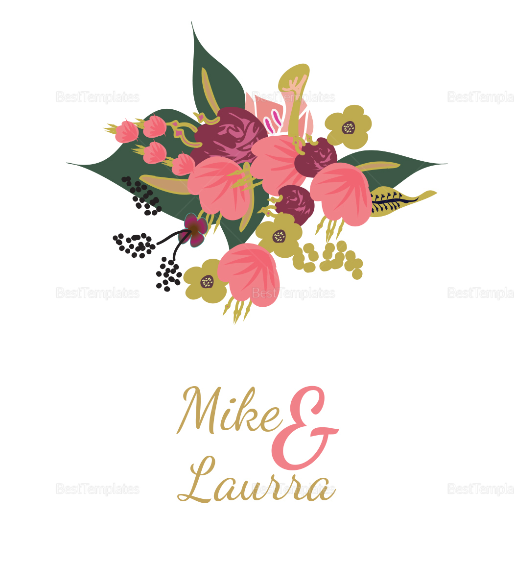 Burgundy Floral Wedding Place Card