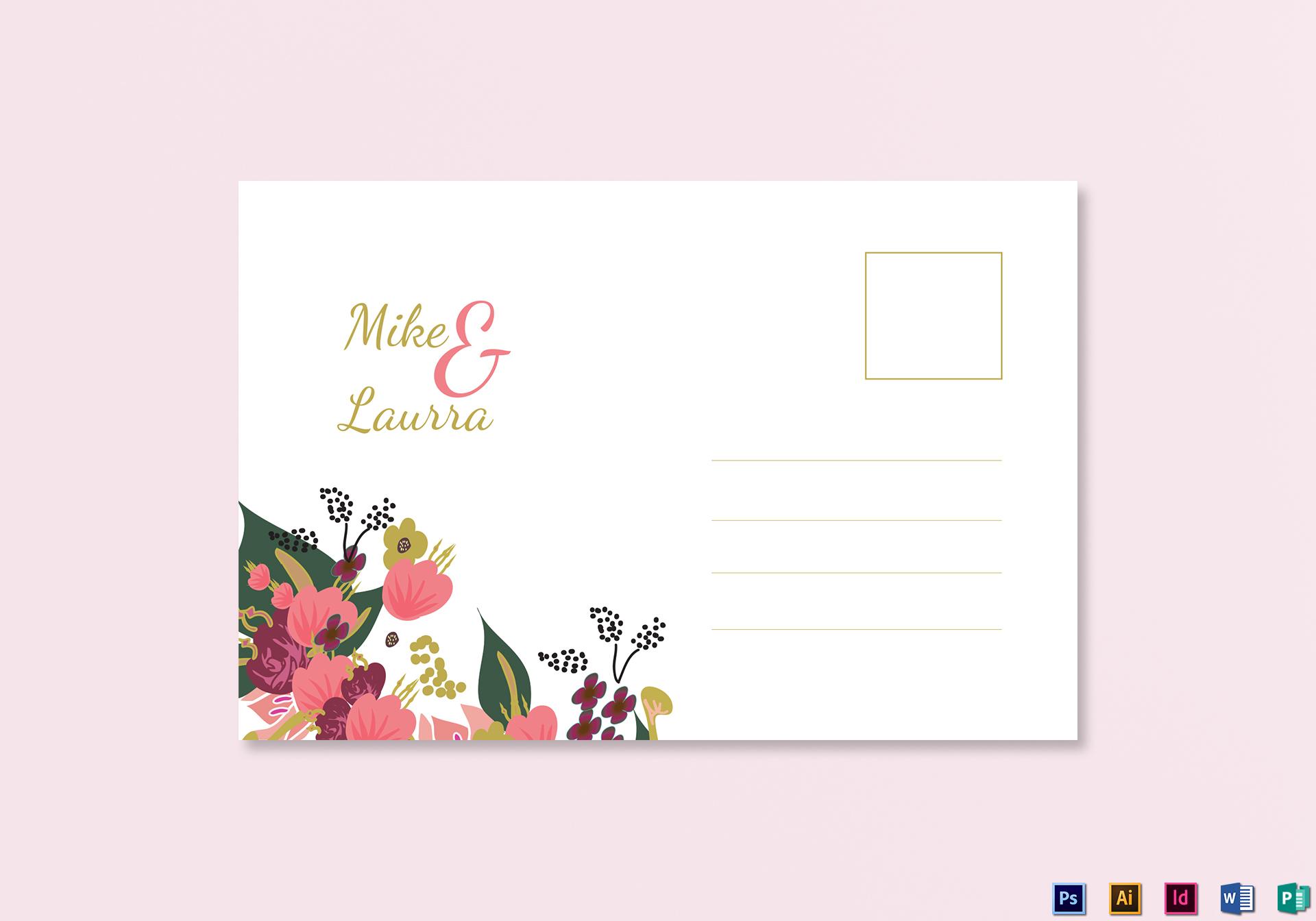 Burgundy Floral Wedding Post Card