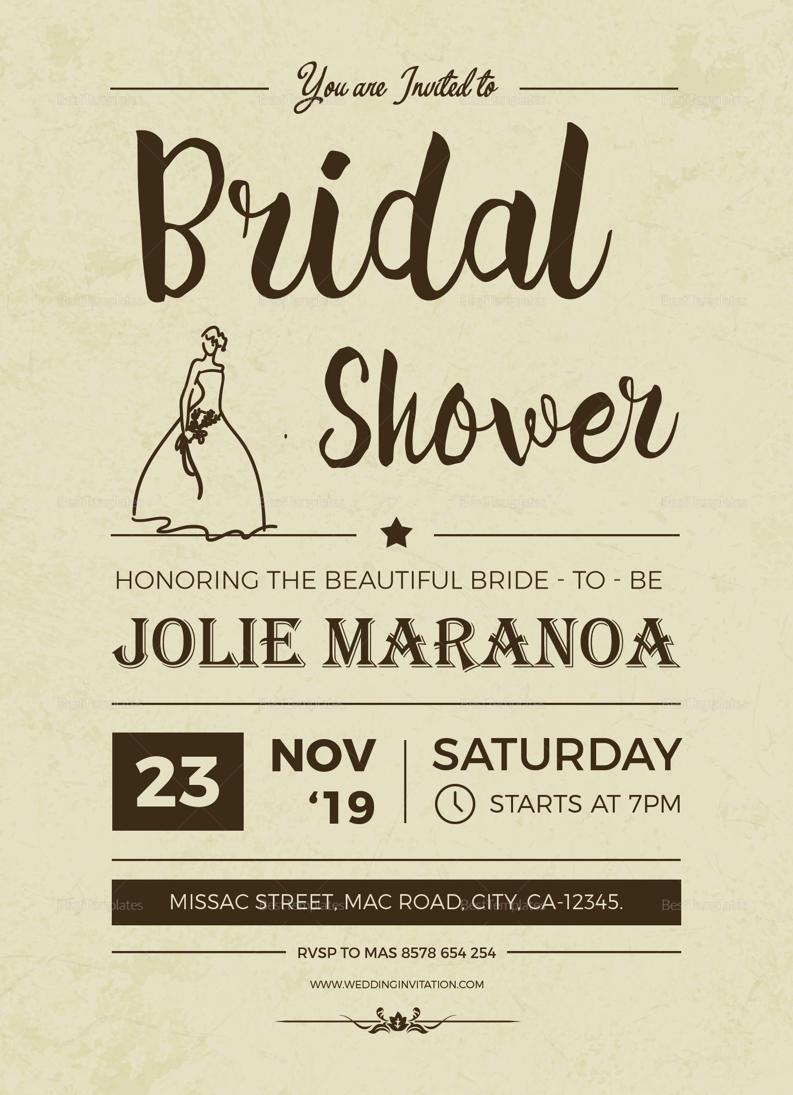 Vintage Bridal Shower Invitation Template