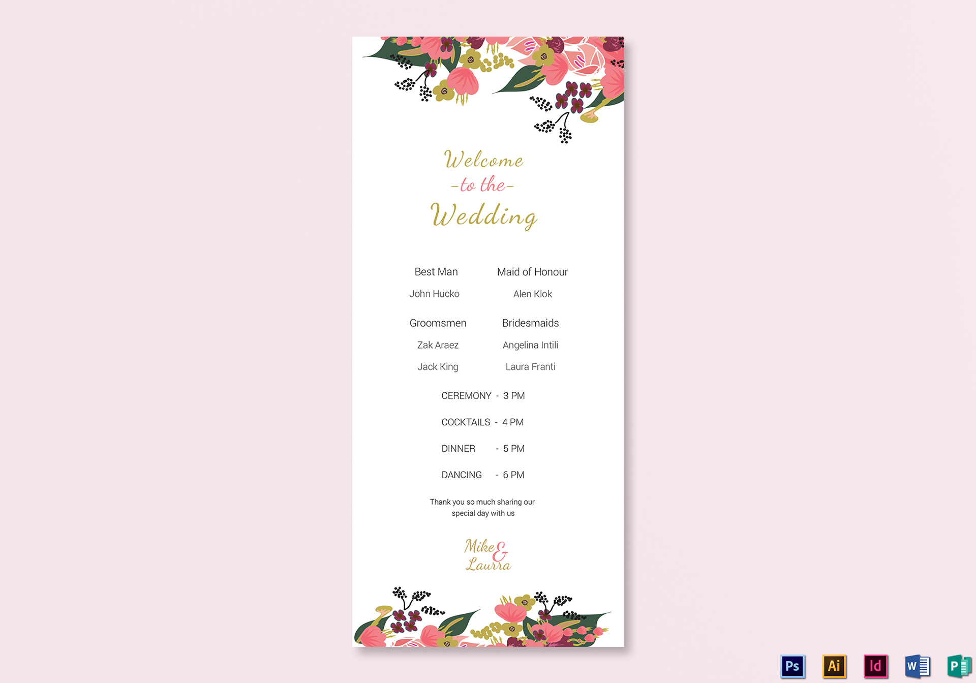 Burgundy Wedding Program Card