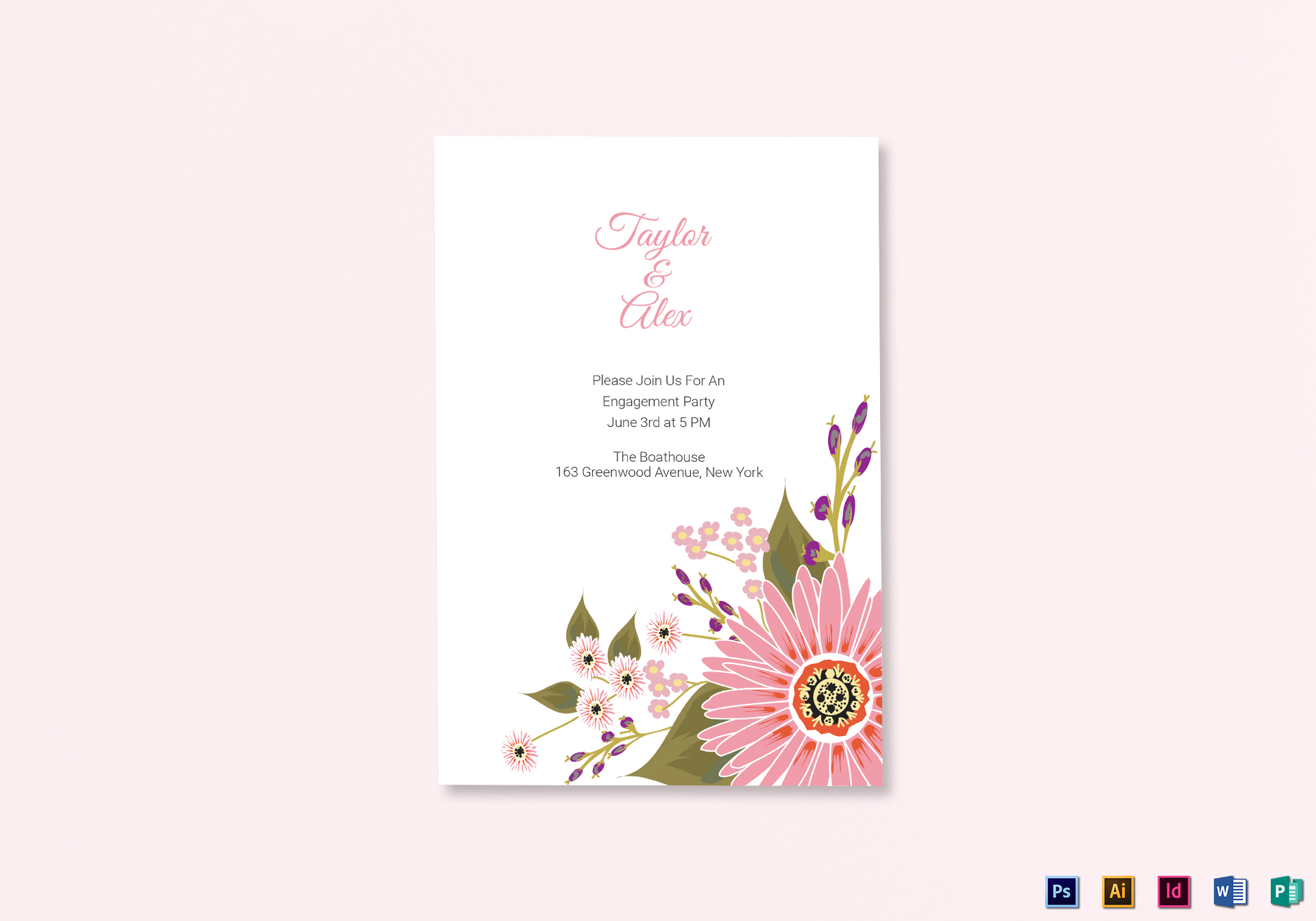 Engagement Announcement Card Template