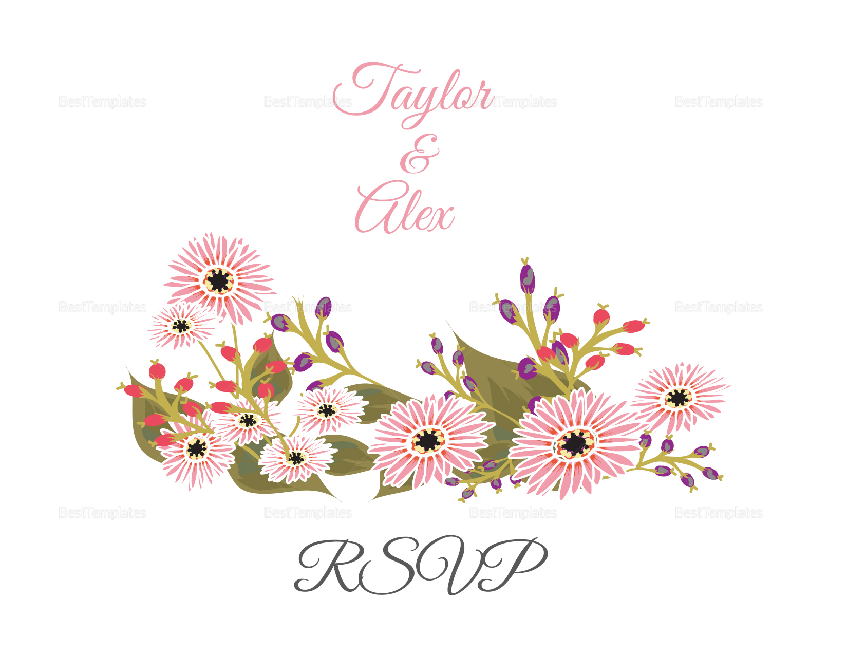 Floral Wedding RSVP Card Design Template