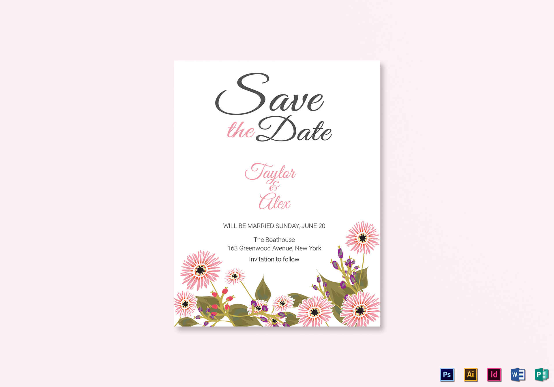 floral save the date card design template in illustrator indesign