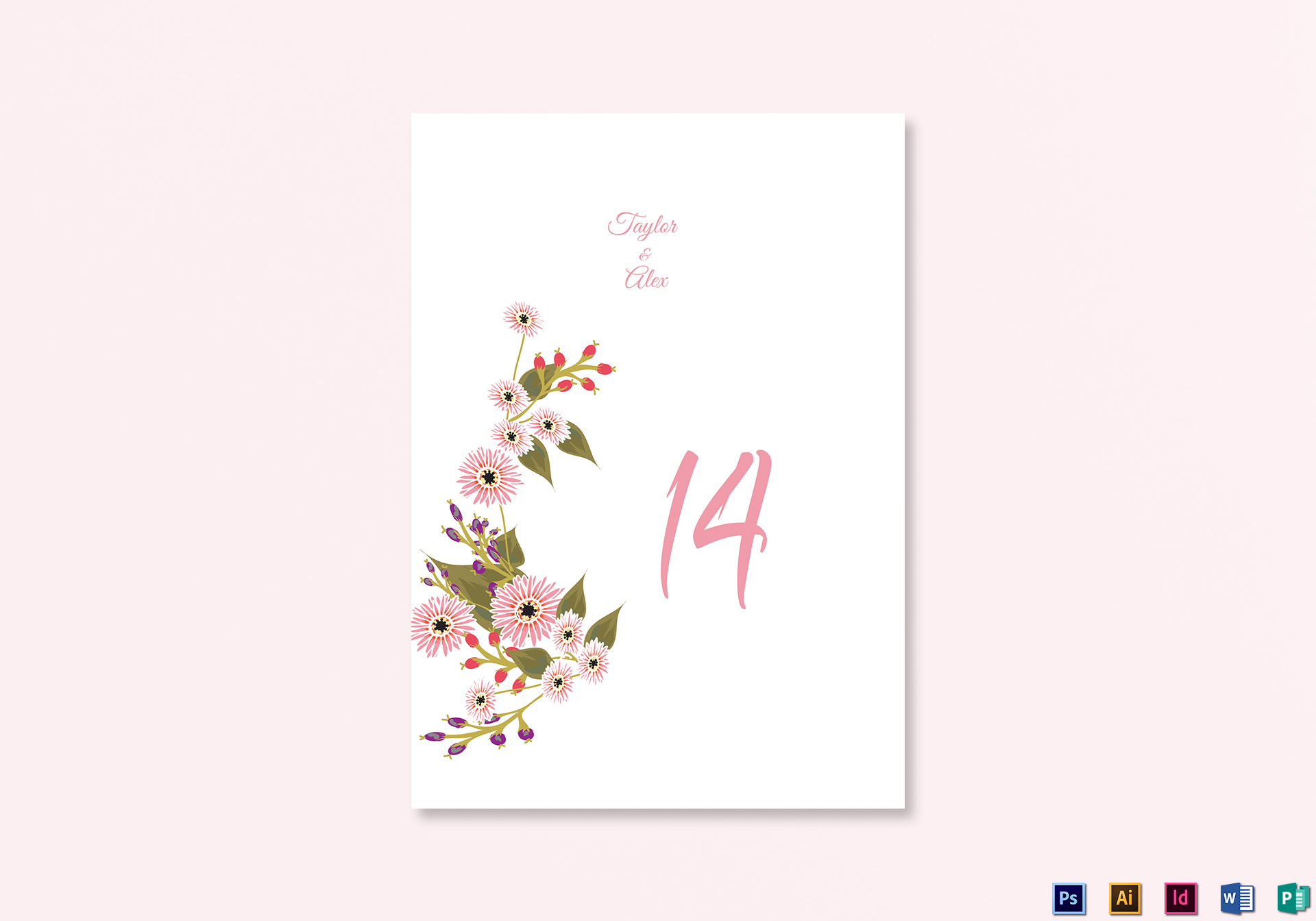 Wedding Table Number Card Template