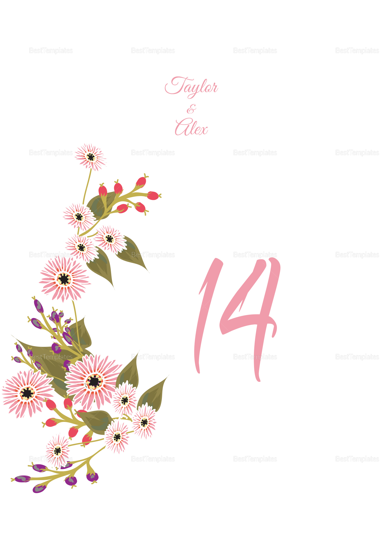 Wedding Table Number Card Design Template