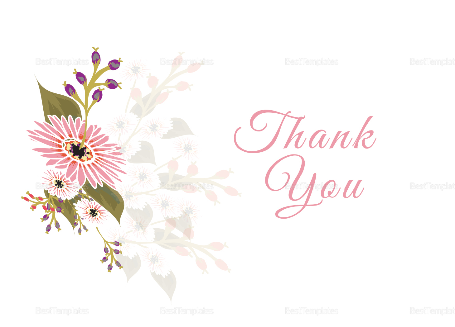 Floral Wedding Thank You Card Design Template in ...