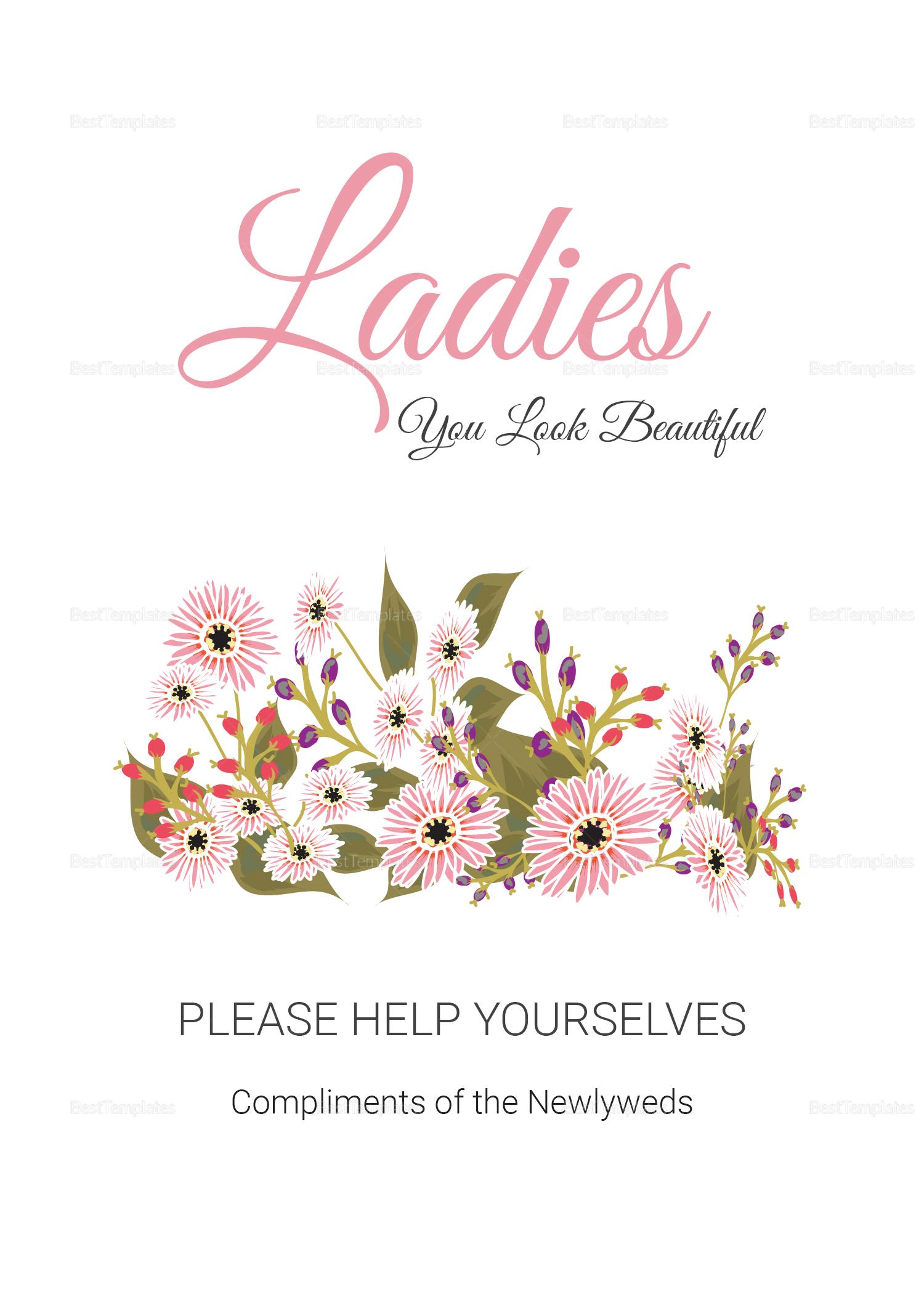 Wedding Bathroom Signs Card
