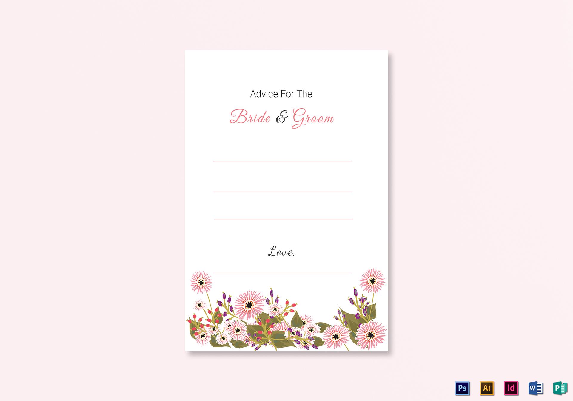 Wedding Advice Card Template