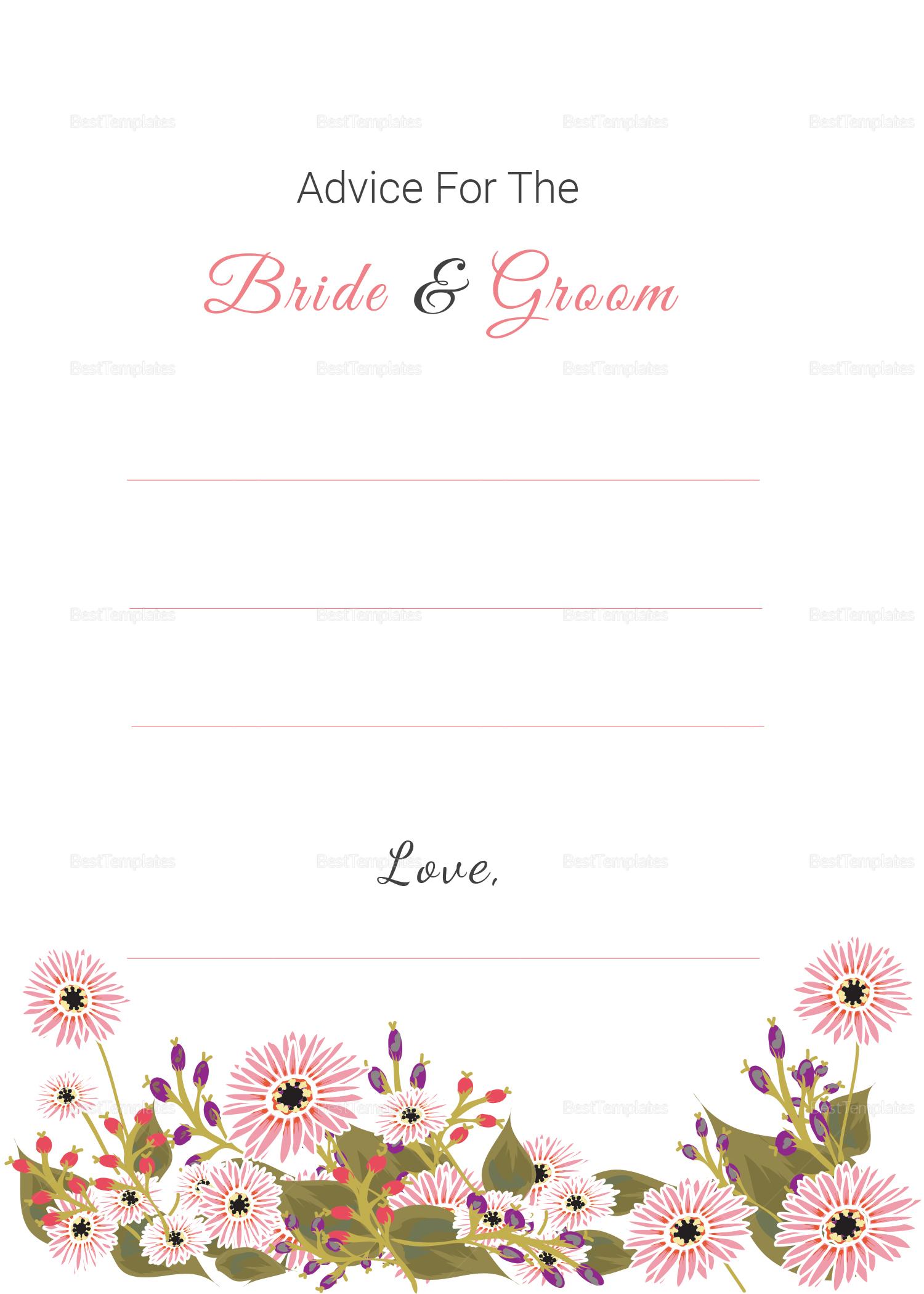 Wedding Advice Card Design Template