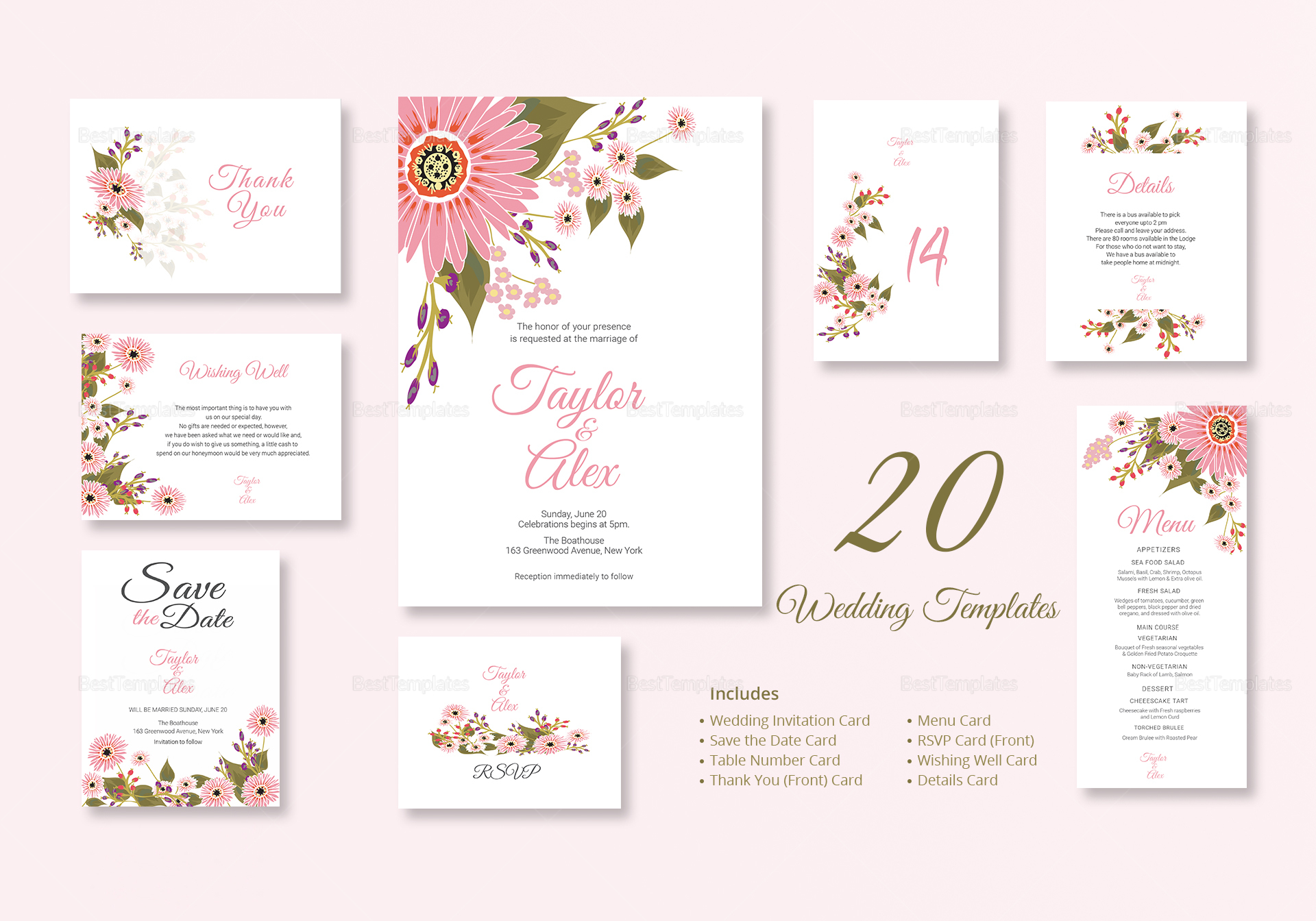 Floral Wedding Invitation Suite Design Template