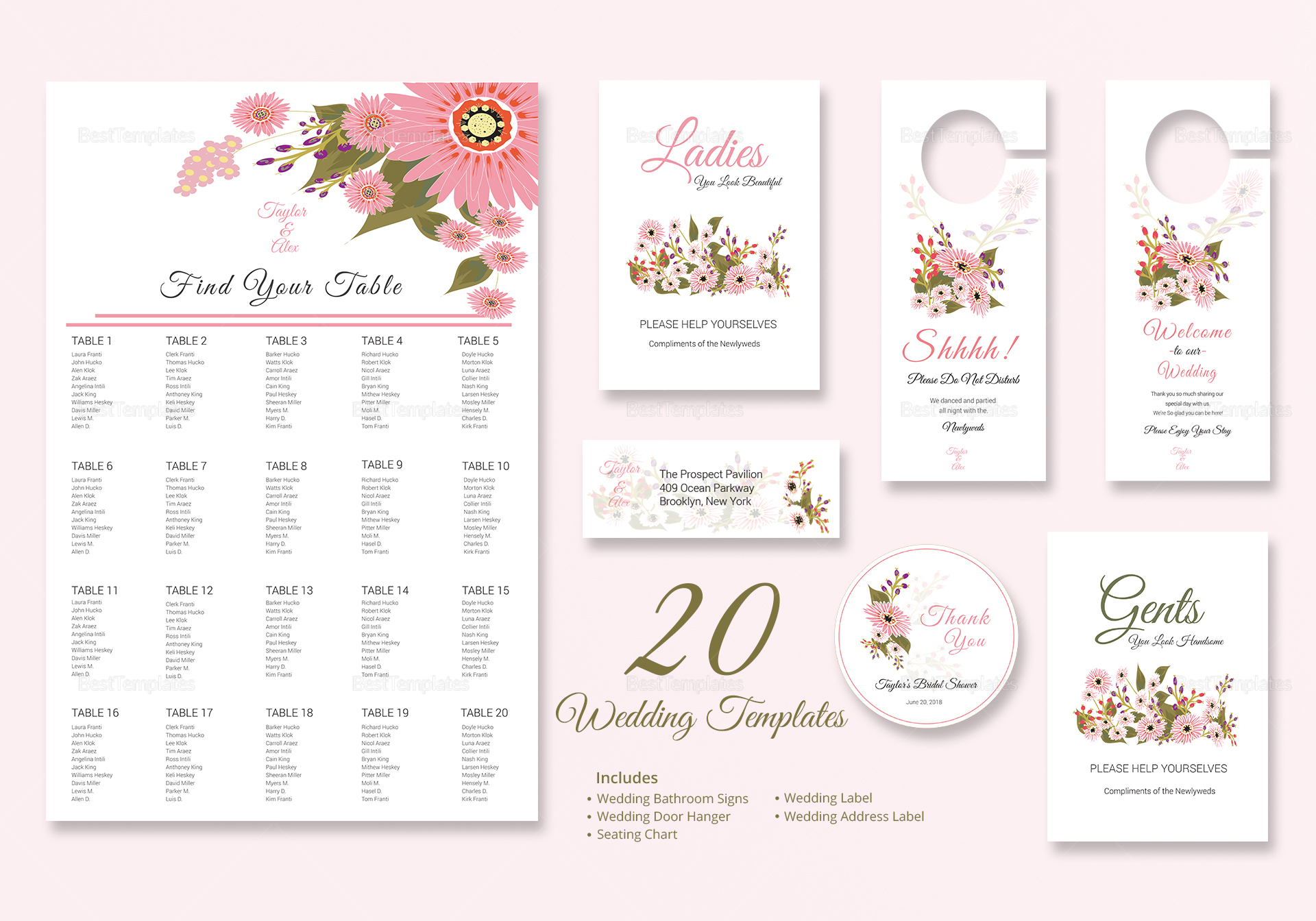 Floral Wedding Invitation Suite Design