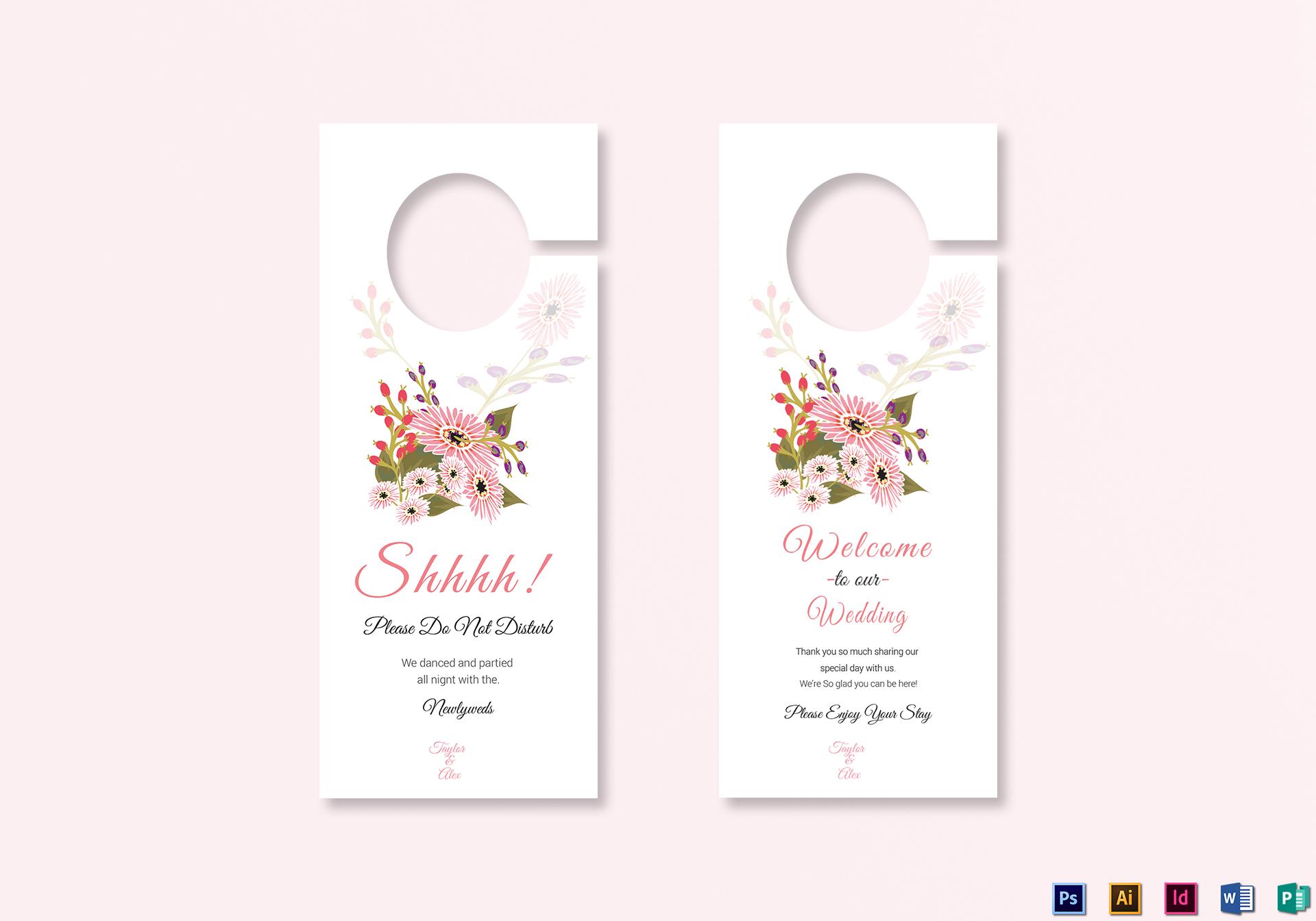 Door Hanger Design Template | Floral Wedding Door Hanger Card Design Template In Illustrator