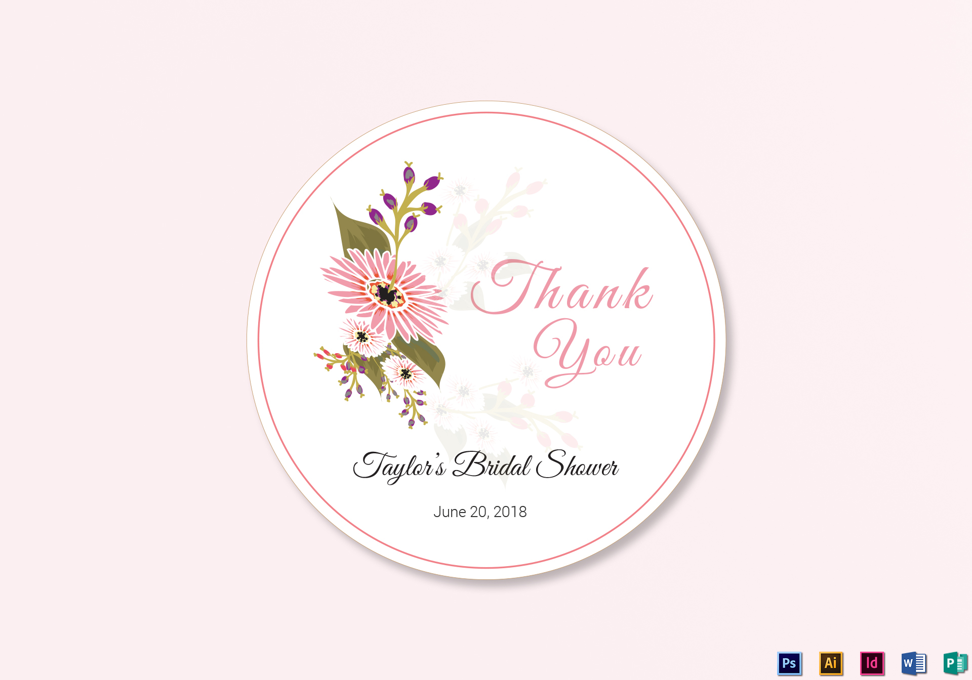 floral wedding label design template in illustrator indesign word