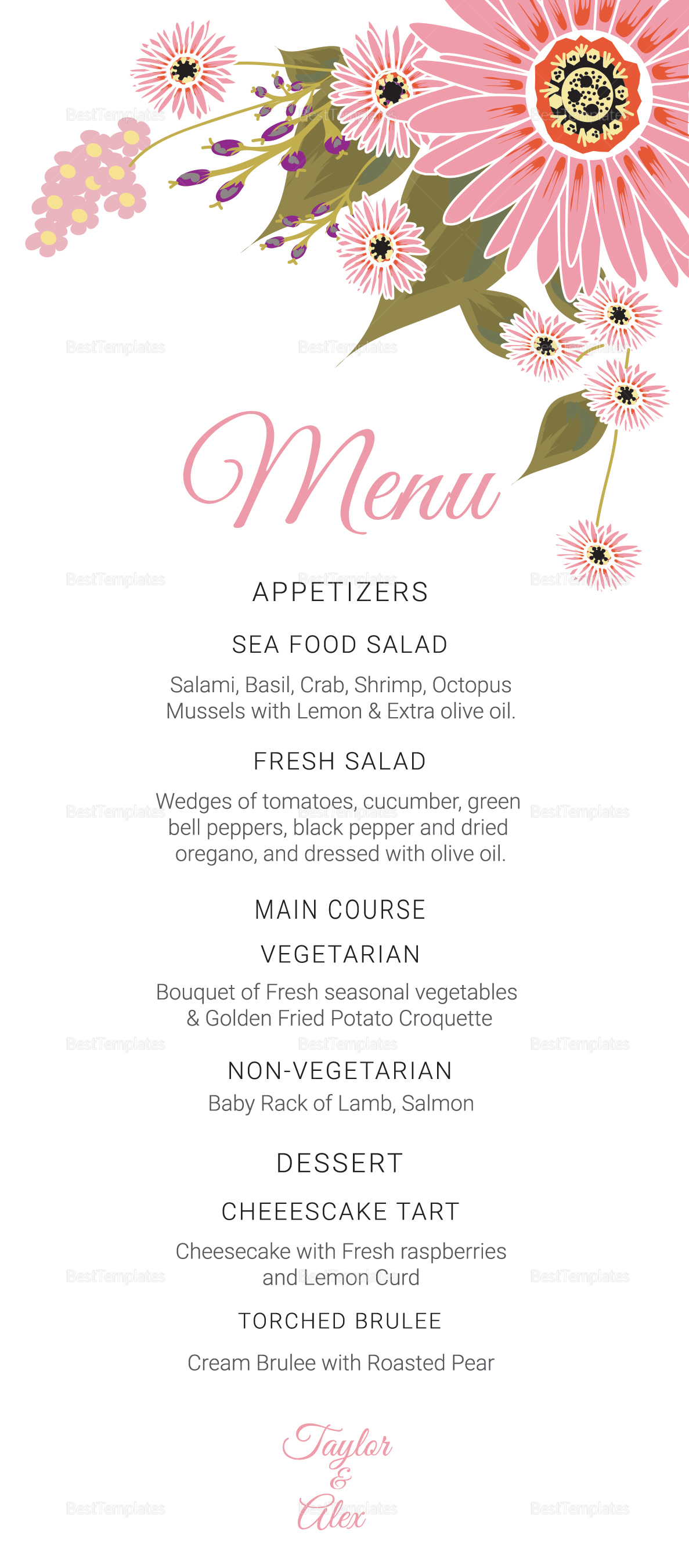 Floral wedding menu card design template in illustrator for Wedding menu cards templates for free