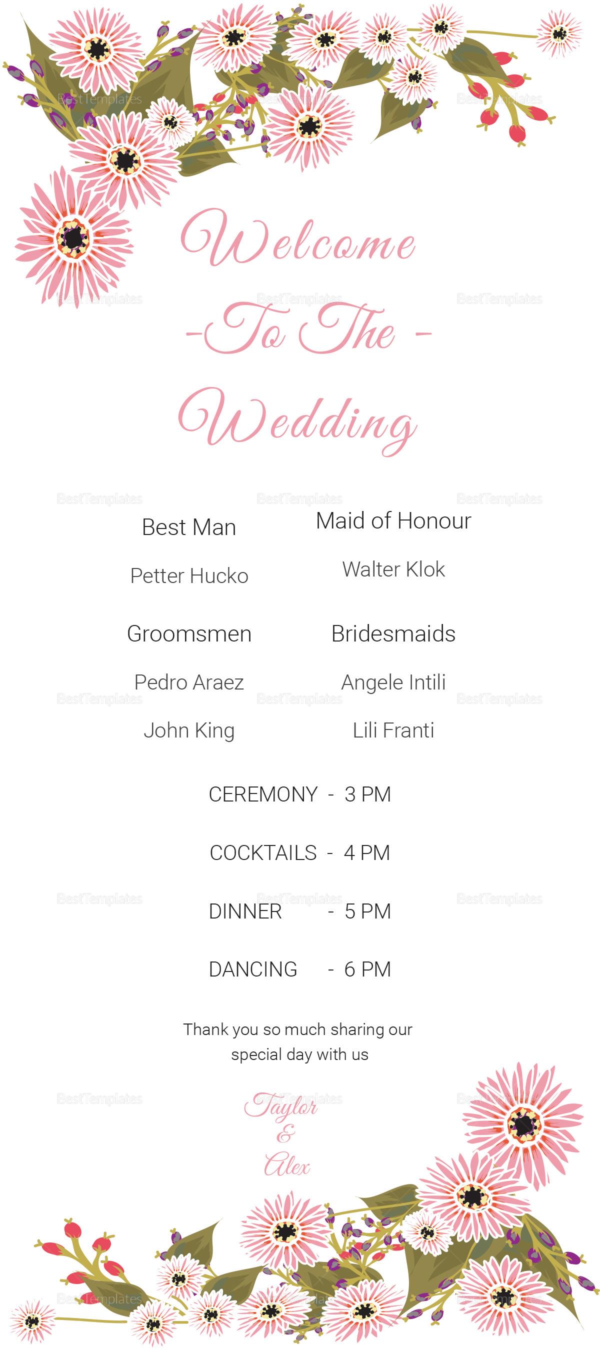 Floral Wedding Program Card Design Template